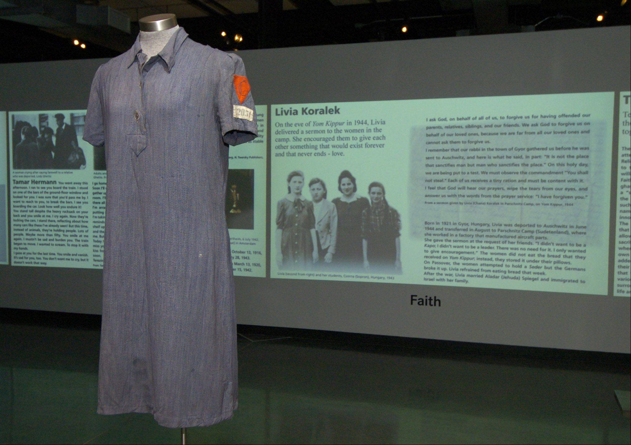 "Summer uniform of Jaroslava Praglova, part of the ""Women in the Holocaust"" exhibit at the Illinois Holocaust Museum in Skokie."