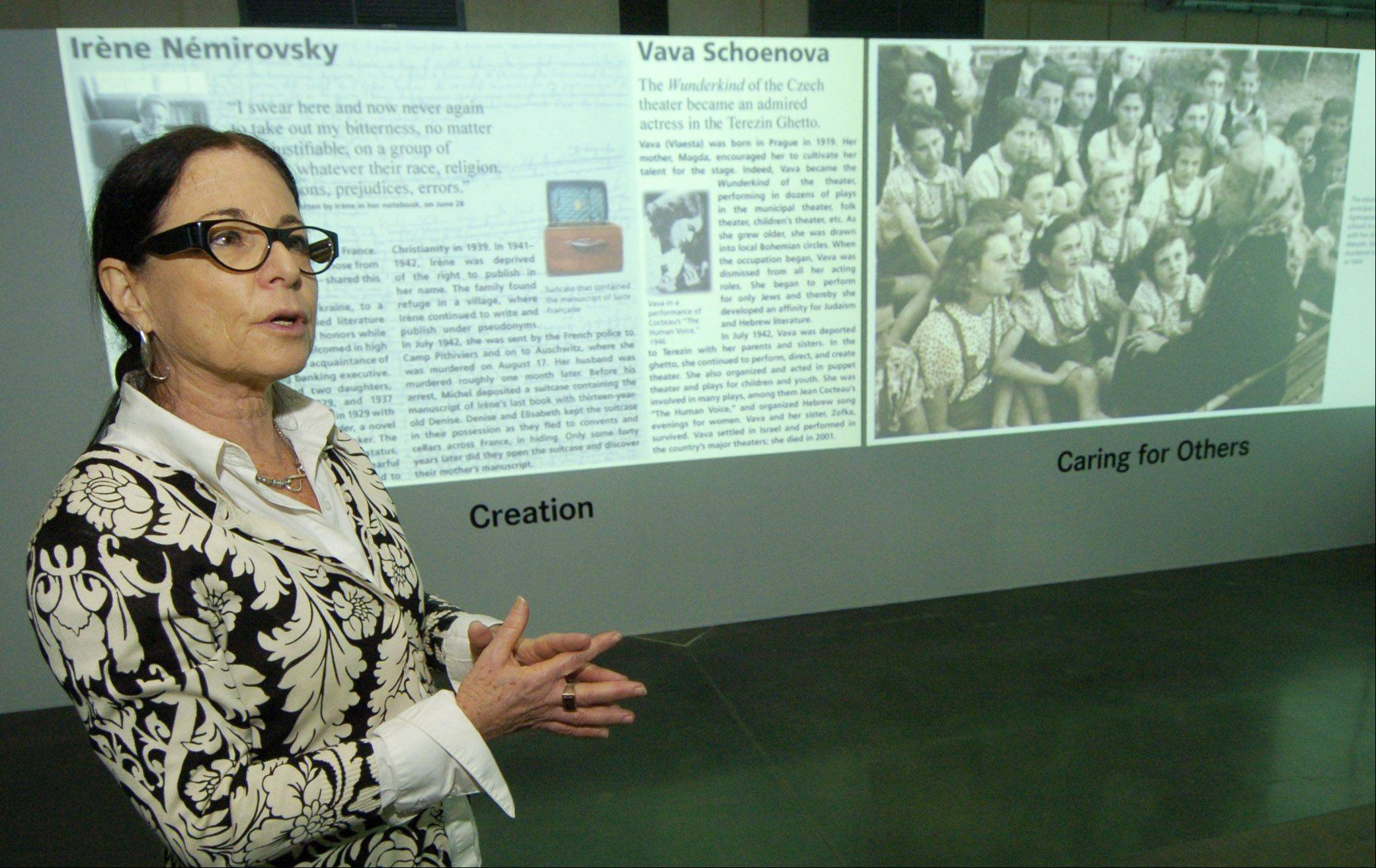 "Yehudit Shendar, deputy director and senior art curator, museums division of Yad Vashem, Jerusalem, discusses the ""Women in the Holocaust"" exhibit at the Illinois Holocaust Museum in Skokie."