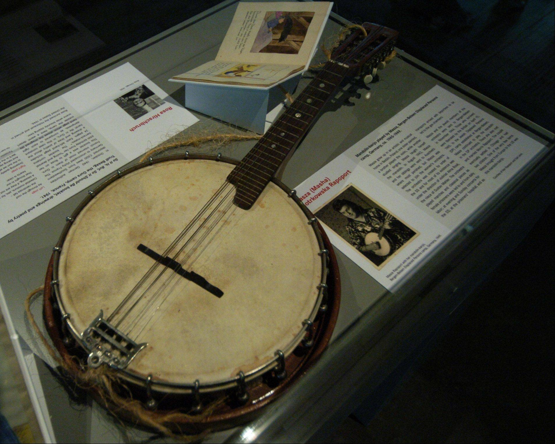 "Mandolin-banjo played by Masza Rapoport, part of the ""Women in the Holocaust"" exhibit at the Illinois Holocaust Museum in Skokie."