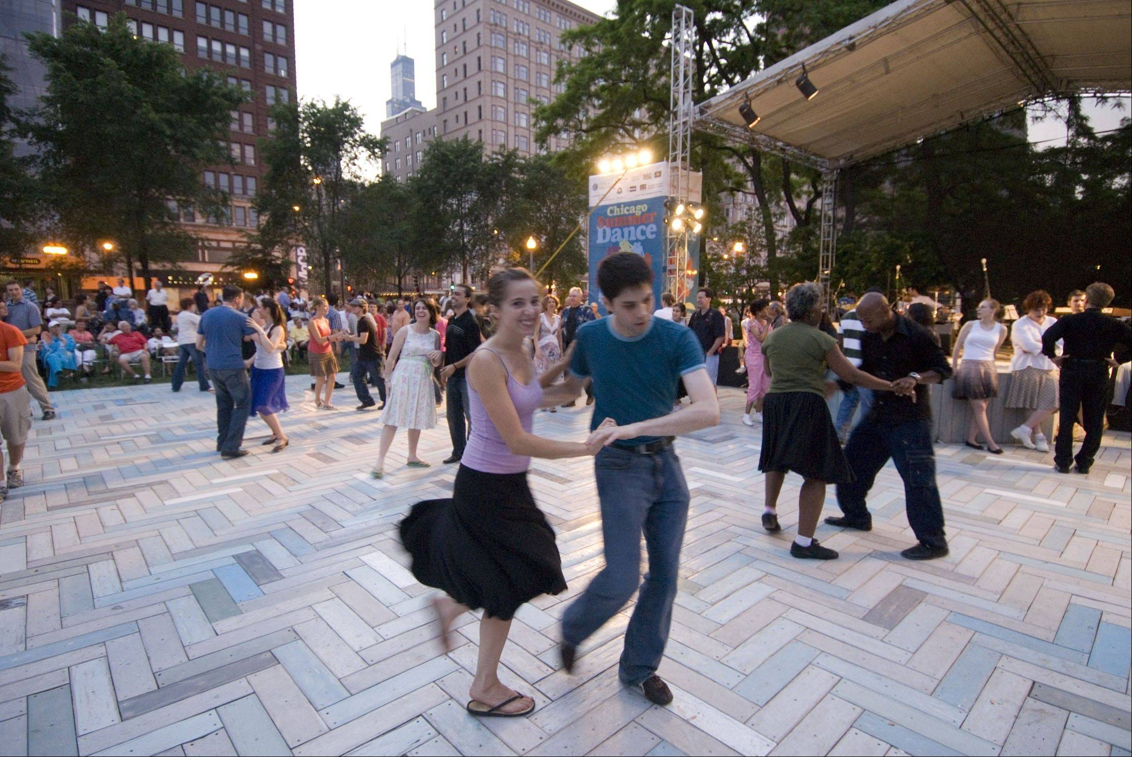 Dance under the stars with lessons and open dancing at Chicago SummerDance.