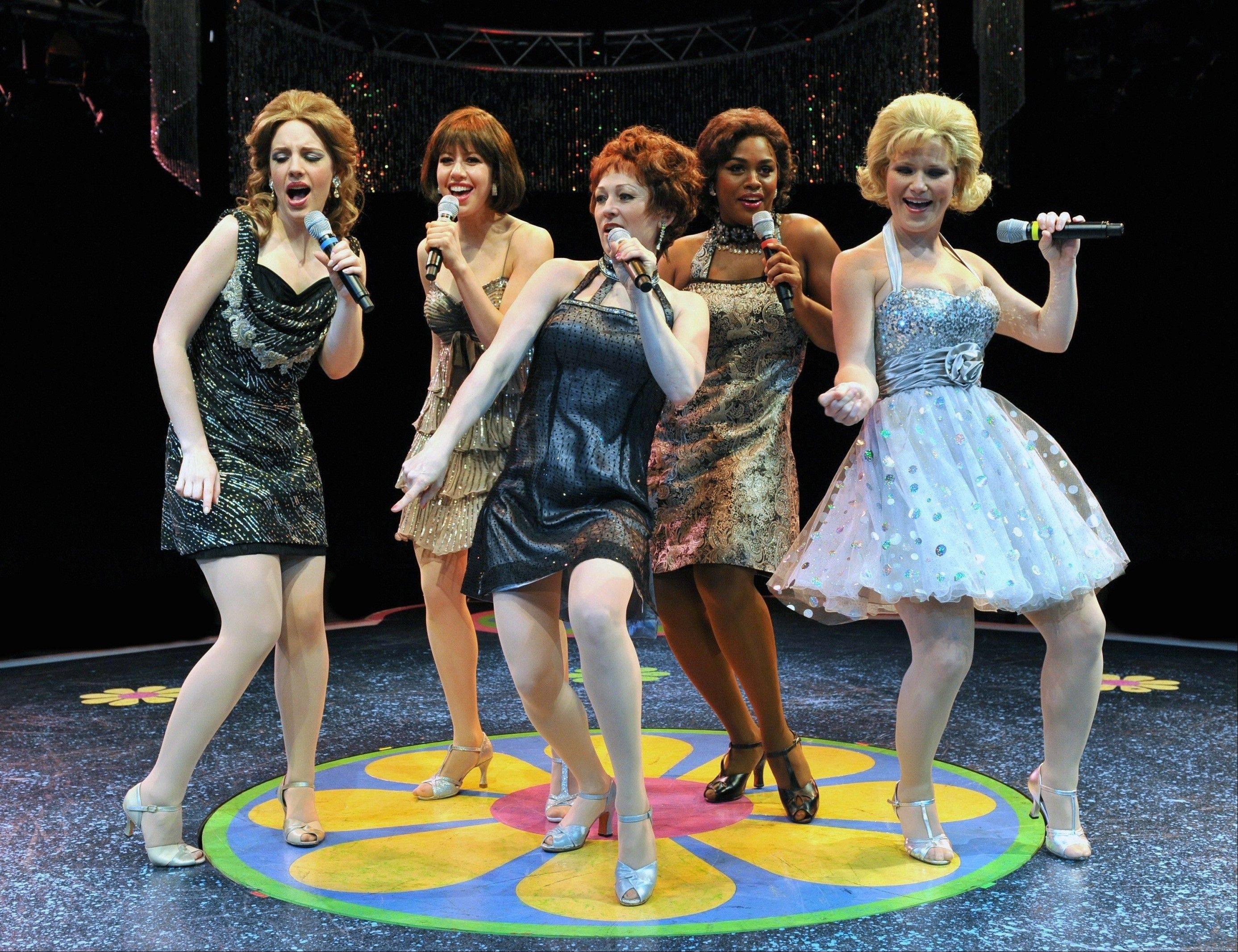 "Jessie Mueller, Brooke Jacob, Tammy Mader, Raena White and Carey Anderson comprise the singing ensemble of the refashioned 1960s musical revue ""SHOUT!"" at the Marriott Theatre in Lincolnshire."