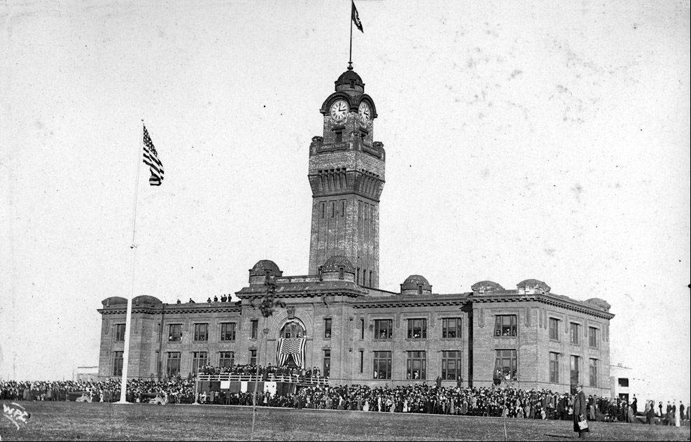 A 1911 dedication ceremony at Great Lakes Naval Station near Ross Field.