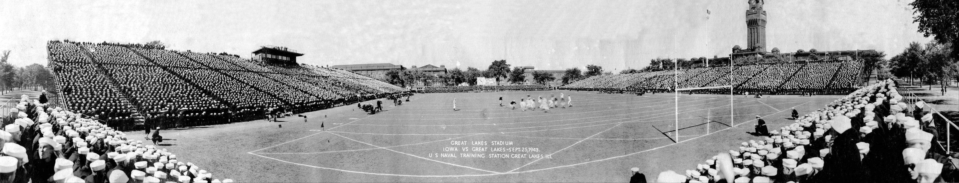 Great Lakes Naval Station once played major college football teams. This is a 1943 photo of football being played on Ross Field at Great Lakes.