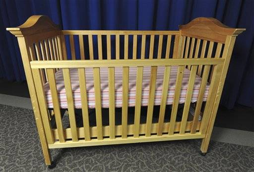 This undated image provided by the Consumer Product Safety Commission (CPSC) shows a drop-side crib. It's one of the biggest purchase for soon-to-be parents: a crib for baby. Beginning Tuesday, a new generation of cribs, ones that are supposed to be safer, will be the only ones allowed to be sold across the country - in stores, online and even in neighborhood yard sales.
