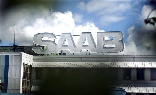 The Saab emblem above the Saab factory in Trollhattan, Sweden, Thursday June 23, 2011. Saab's Dutch .