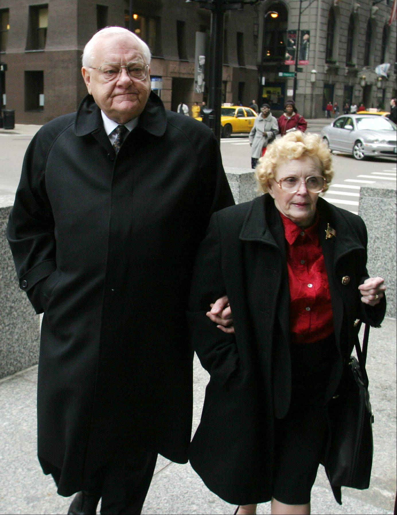 In this March 28, 2006 file photo, former Illinois Gov. George Ryan and his wife, Lura Lynn, arrive at Chicago's federal court.