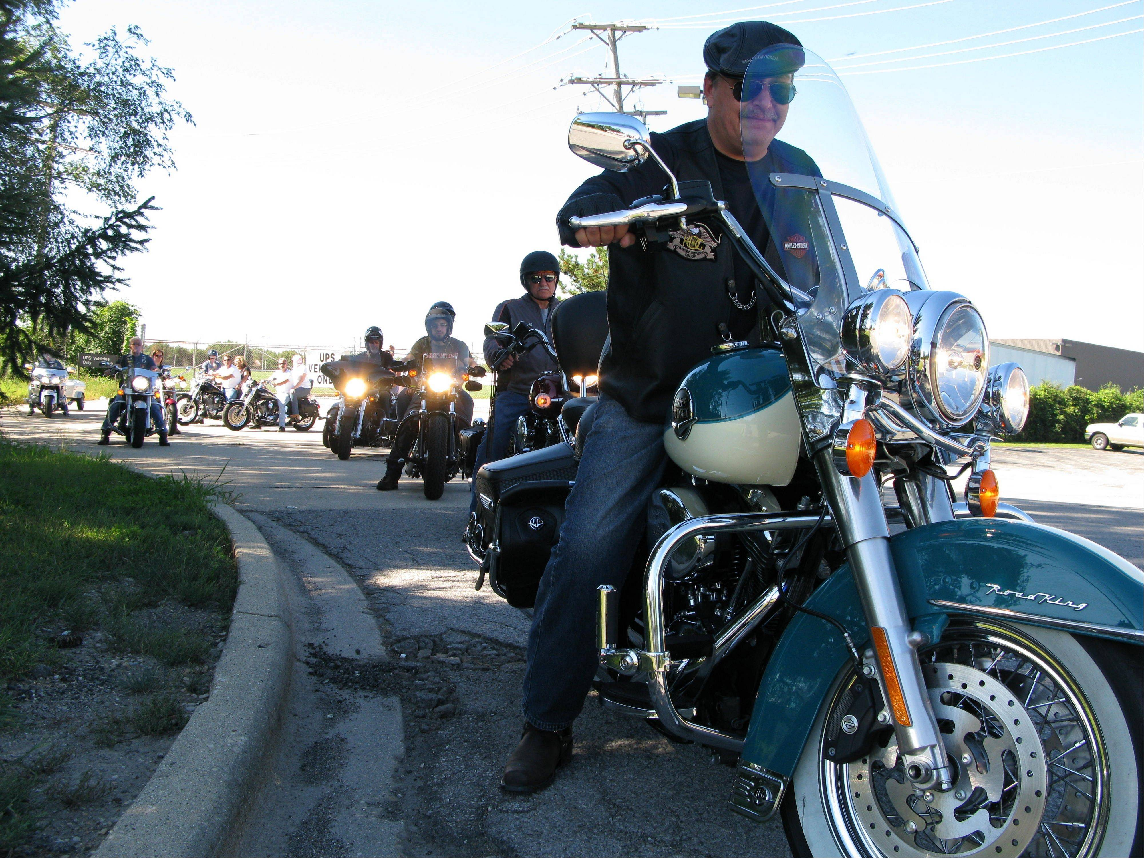 Riders leave Palatine to join roughly 100 motorcyclists from throughout the suburban area for the Shelter-A-Child ride in 2010.
