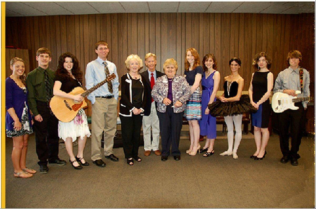 The Woodstock Fine Arts Association honored 10 McHenry County seniors at the annual talent show. Pictured are, from left: Tina Lebar, Alex Johnson, Claire Kelly, Mitch Ennis, WFAA member Carolyn Mahoney, Woodstock Mayor Brian Sager, WFAA member Nancy Porstner, Izora Baltys, Chandler Ellison, Alexa Barkocy, Grace Papadopoulos, and Dylan McCartin. Not pictured is Katie Sprague.