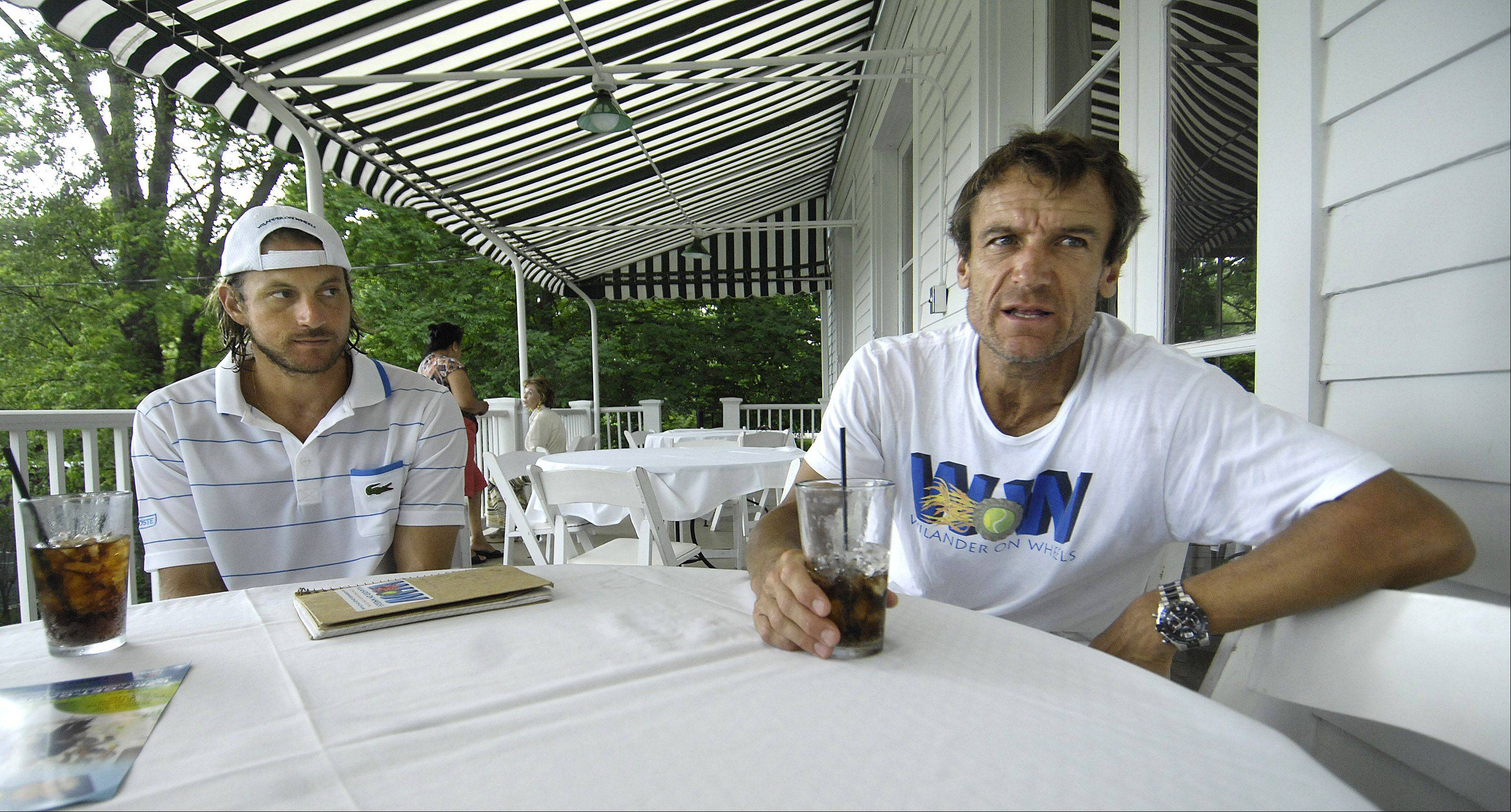 Tennis great Mats Wilander, right, with business partner Cameron Lickle at the Dunham Woods Riding Club in Wayne Wednesday. Daily Herald reporter -- and tennis fanatic -- Lenore Adkins had a chance to chat with Wilander last week.