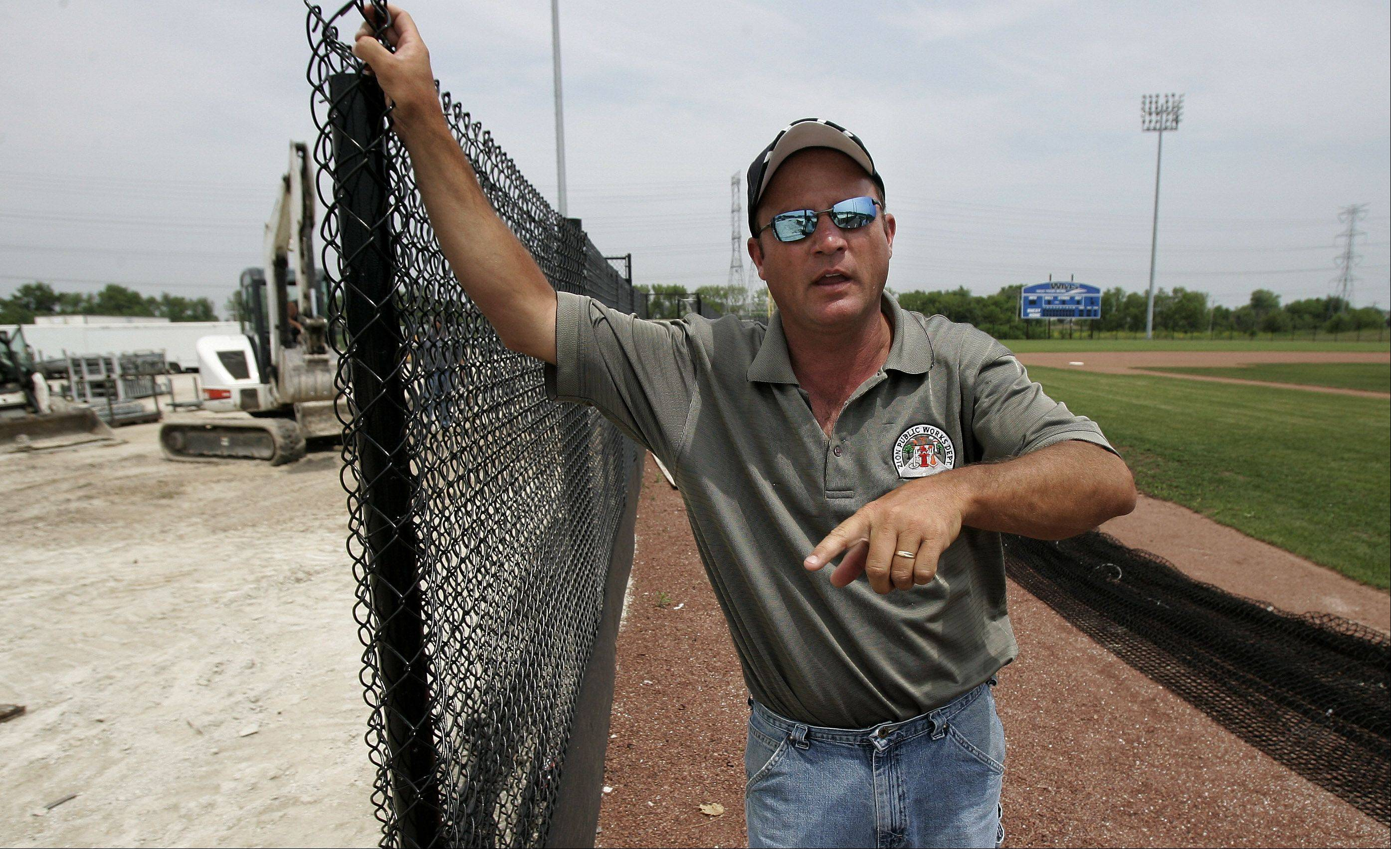 Ron Colangelo, director of Zion's Public Works and Engineering Department, is helping get the Lake County Fielders' home park ready for a July 3 opening.