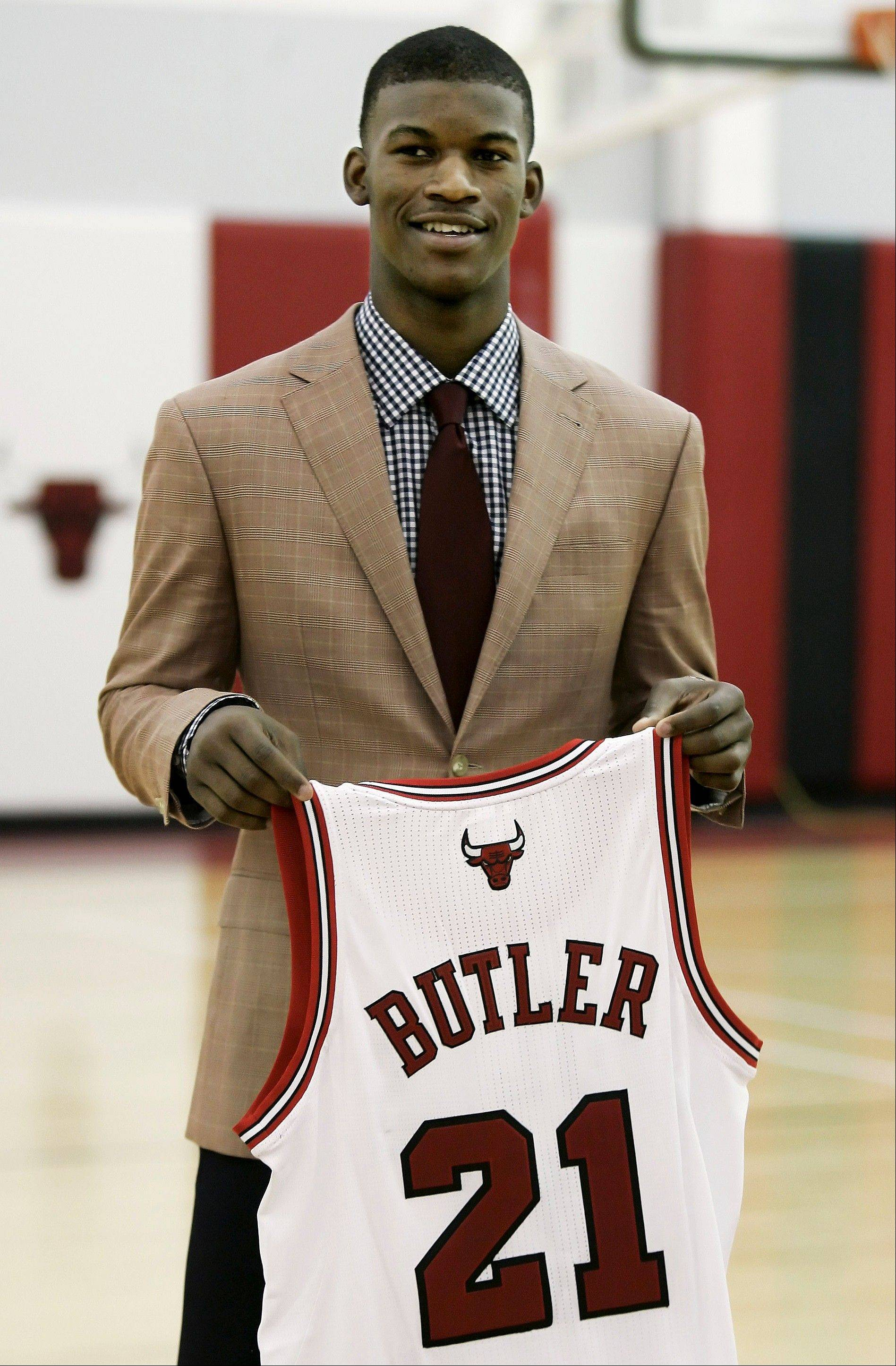 Jimmy Butler is introduced to the media Monday by the Chicago Bulls at the Berto Center in Deerfield.