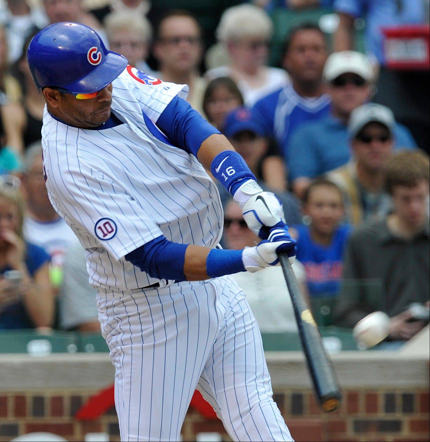The Cubs' Aramis Ramirez hits a two-run home run against the Colorado Rockies during Monday's first inning at Wrigley Field.