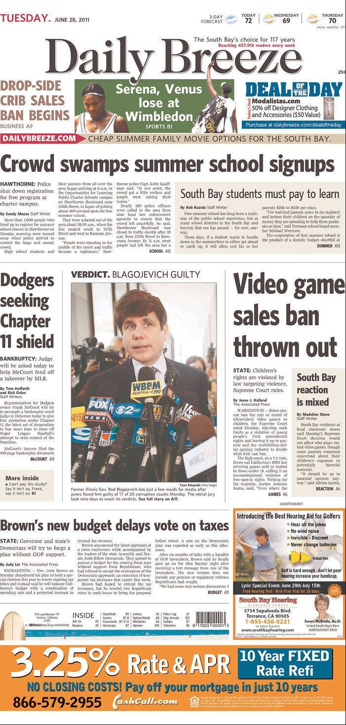 Front page coverage of the Blagojevich verdict on The Daily Breeze, Torrance, CA.