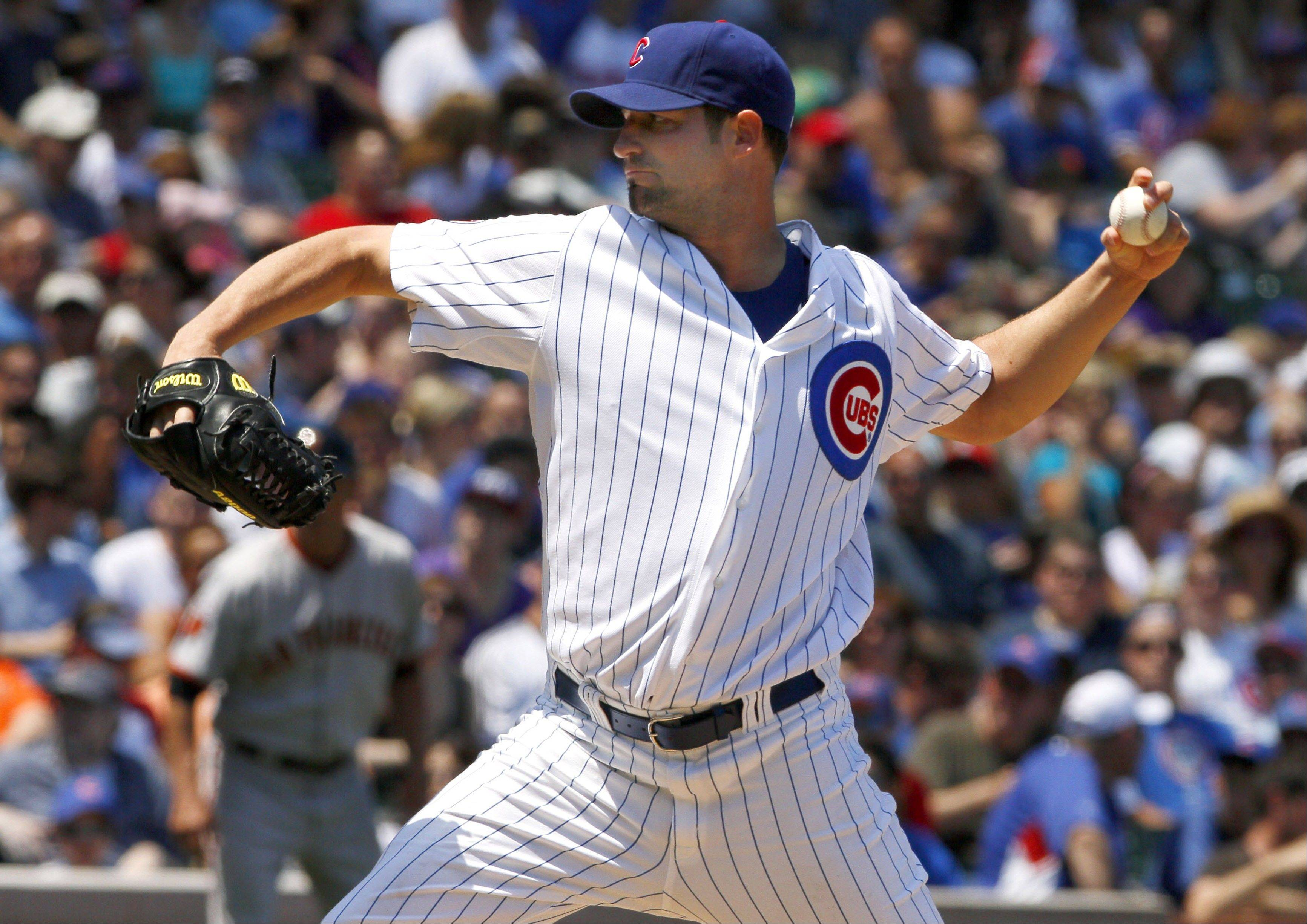 Cubs starter Doug Davis allowed 10 runs on 12 hits in 4⅓ innings as he fell to 1-7 with the loss in the first game of Tuesday's double dip to the Giants at Wrigley Field.