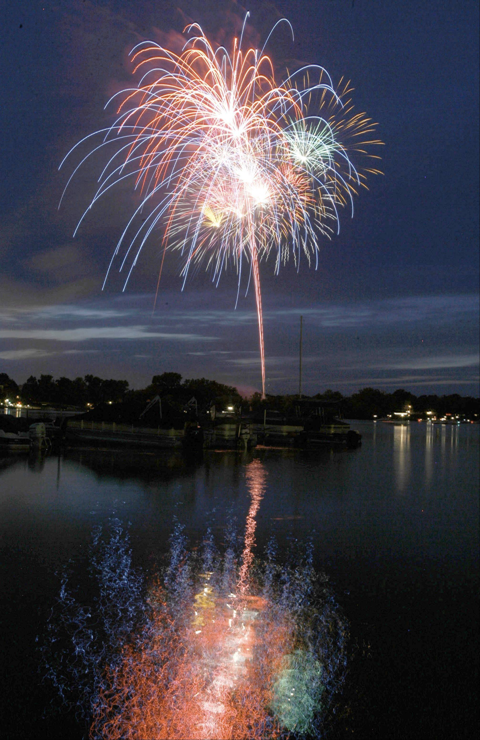 The village of Wauconda held their annual fireworks display at Cook Park and could be seen by hundreds of boaters on Bangs Lake.