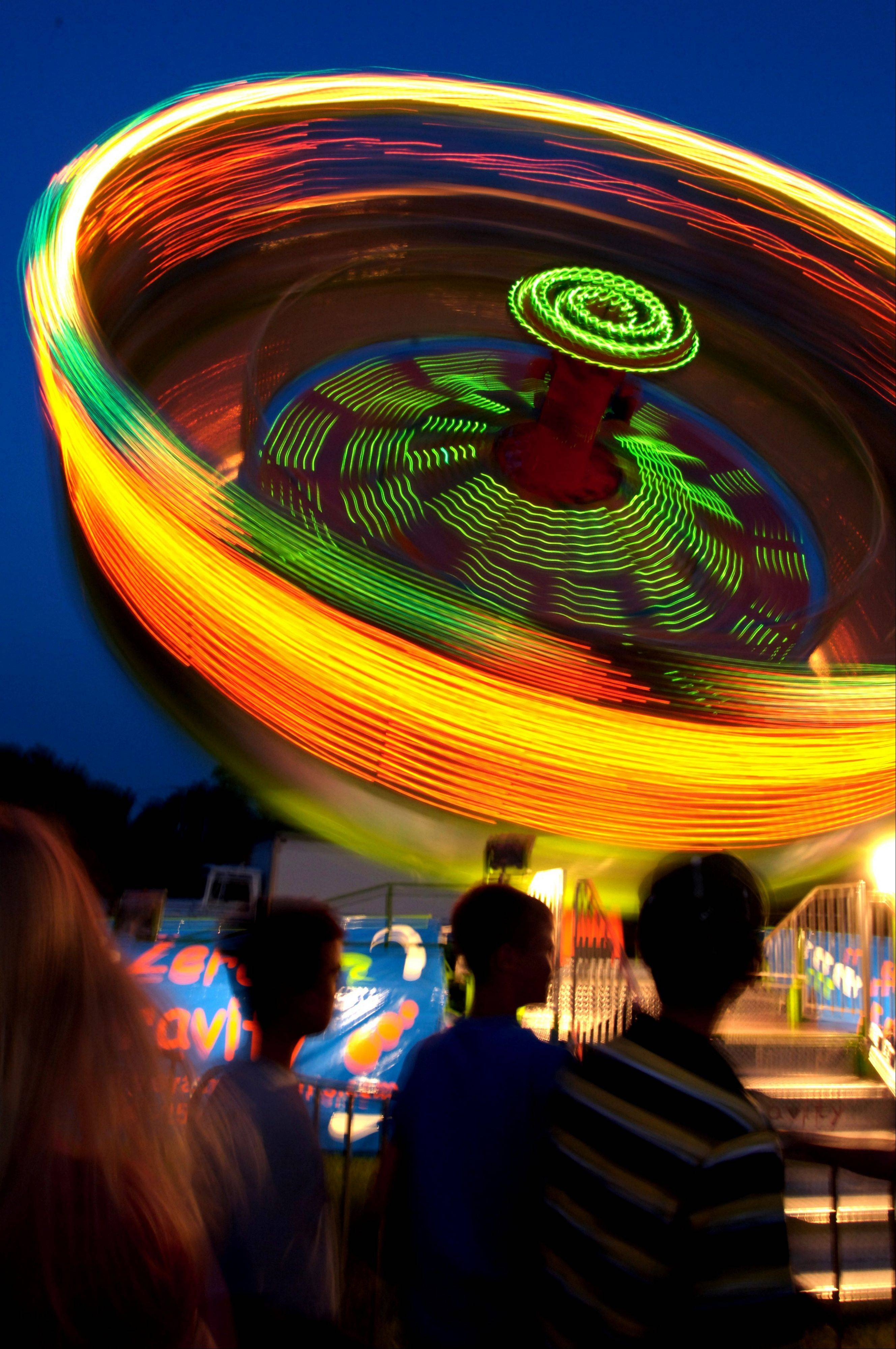 A time exposure of a ride at the Mount Prospect festival.