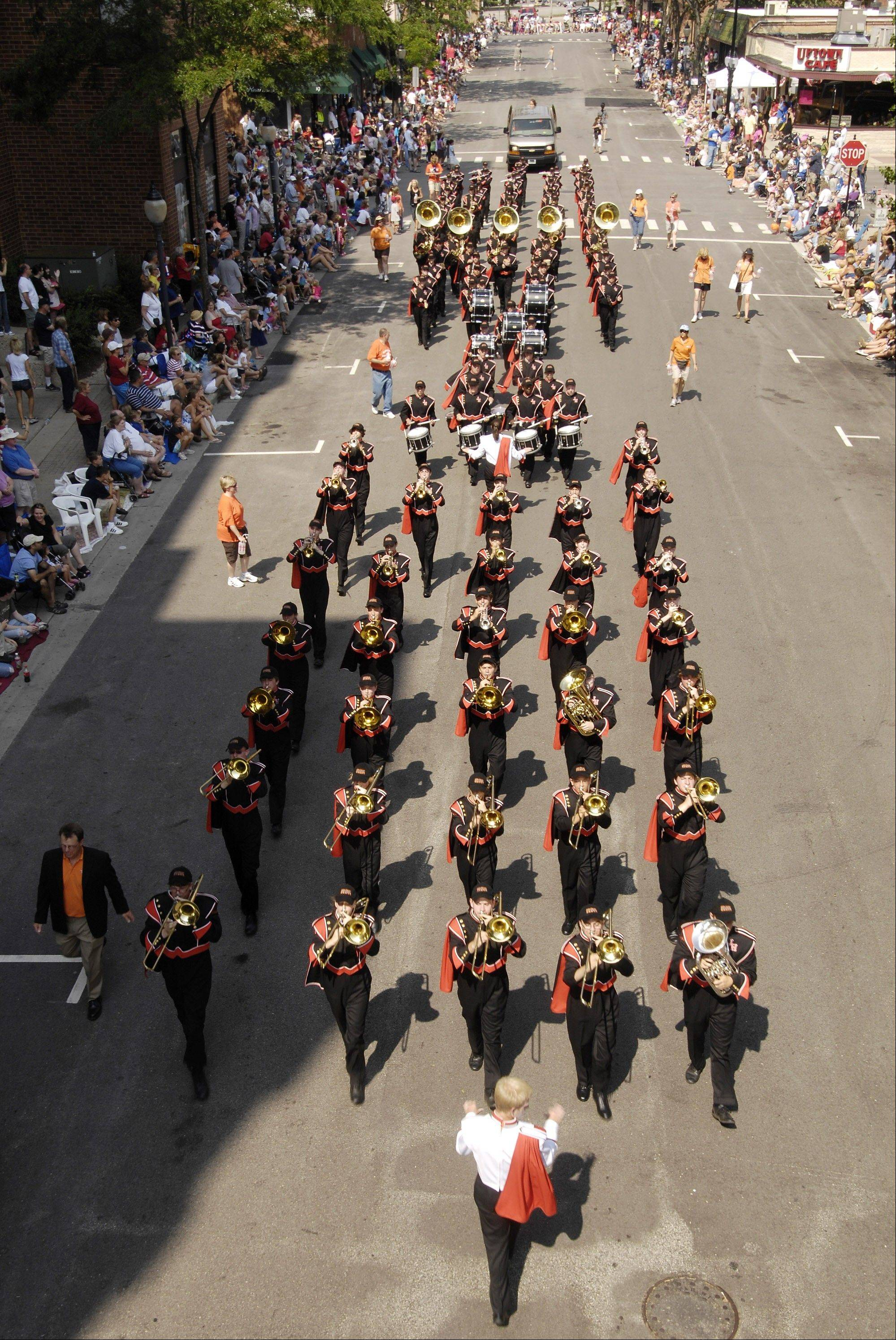 The Hersey High School marching band performs during the 2010 Arlington Heights parade.