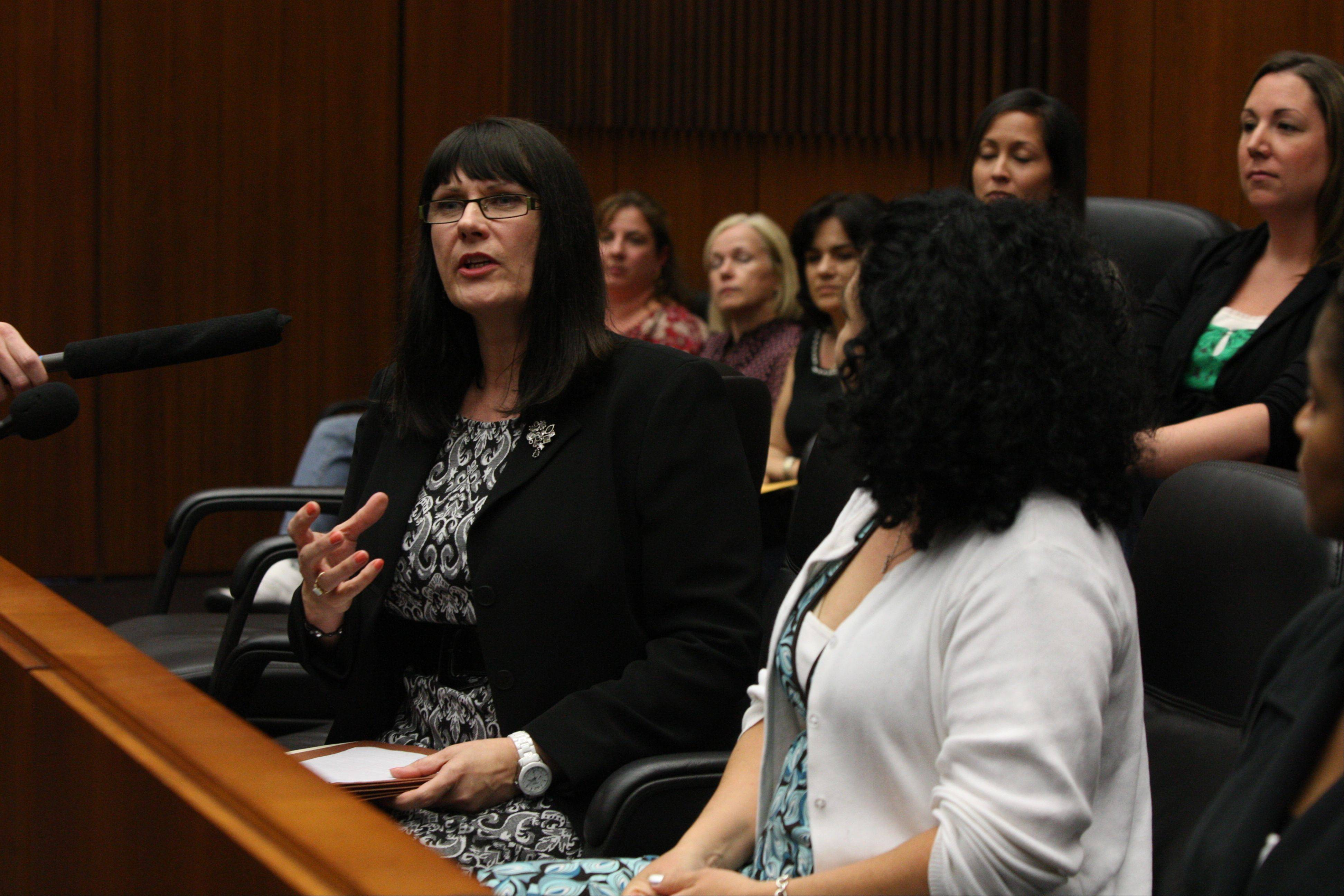 Jury forewoman Connie Wilson of Naperville speaks out on the trial, along with her fellow jurors, following a guilty verdict on former Illinois governor Rod Blagojevich Monday.