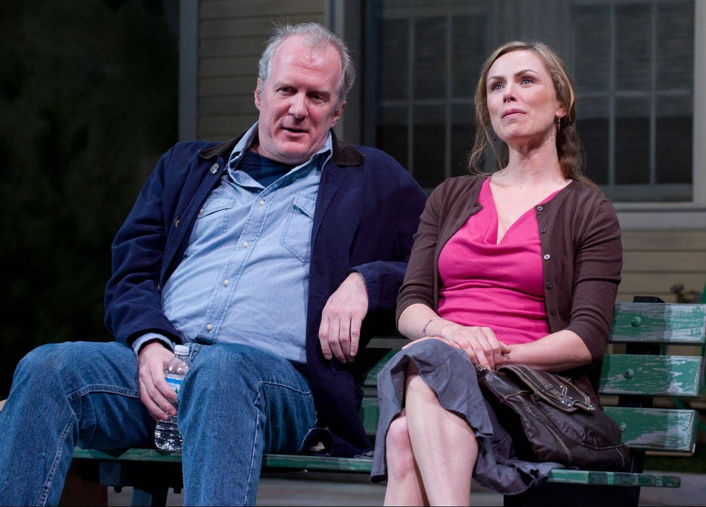 "Tracy Letts, left, and Brenda Barrie play two people whose friendship keeps their sadness at bay in Will Eno's gentle, lyrical ""Middletown,"" which concludes Steppenwolf Theatre's 2010-2011 season"