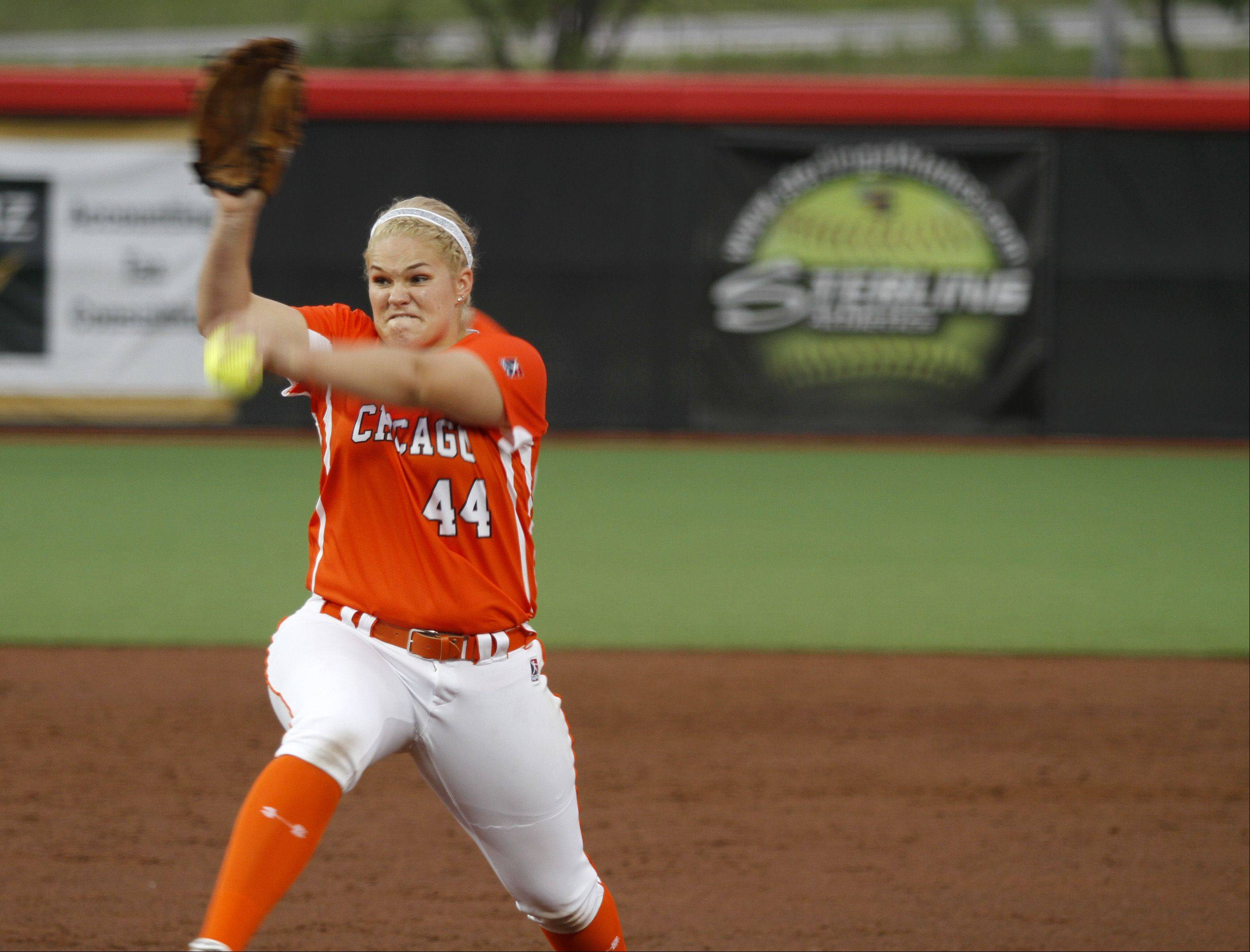 Bandits pitcher Nikki Nemitz works against the NPF Diamonds on Thursday. Nemitz fired a 2-hit shutout.