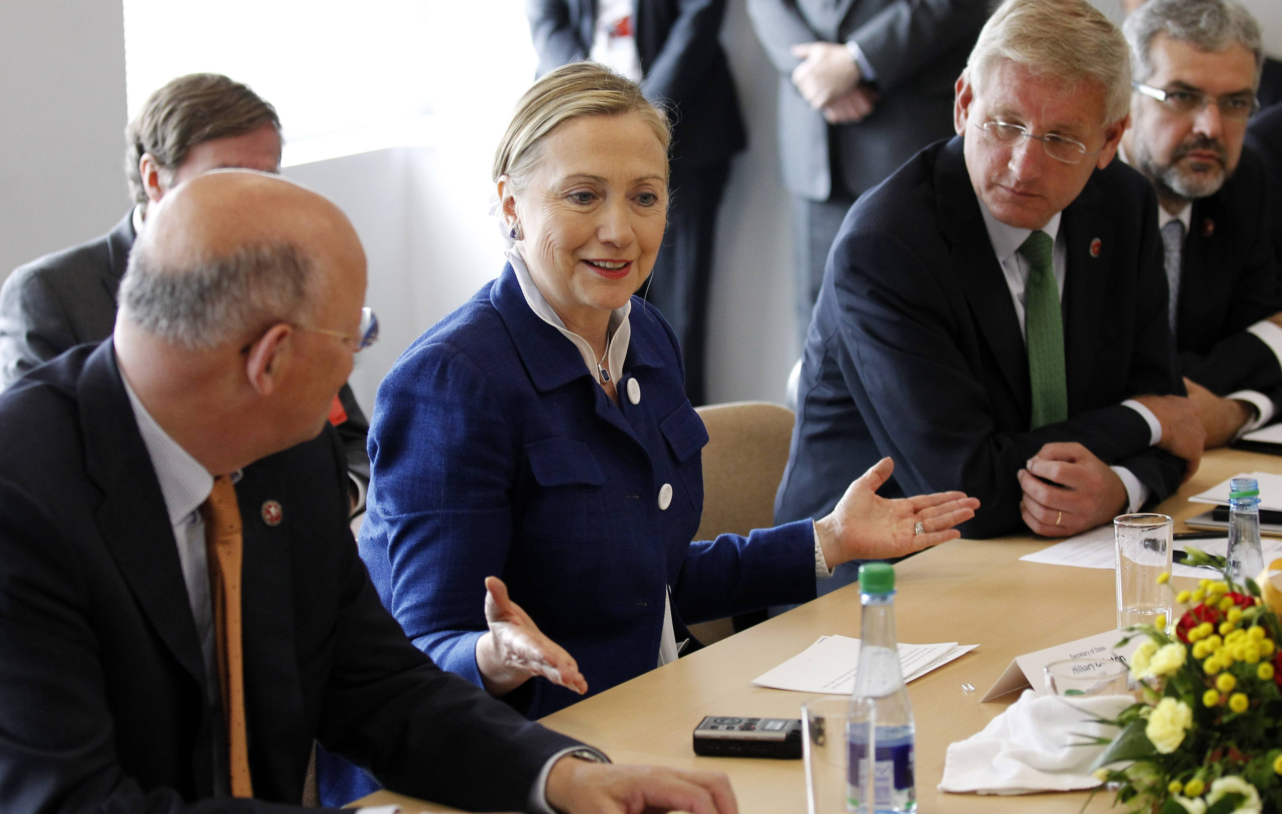 U.S. Secretary of State Hillary Rodham Clinton speaks at a meeting of the Lifeline Donor Steering Committee before the Community of Democracies ministerial conference Friday in Vilnius, Lithuania. Clinton is in Lithuania to attend the international democracy conference and commented Friday about reports on Syria, saying Assad's government is running out of time, that it must advance to a serious political process or face increased resistance.
