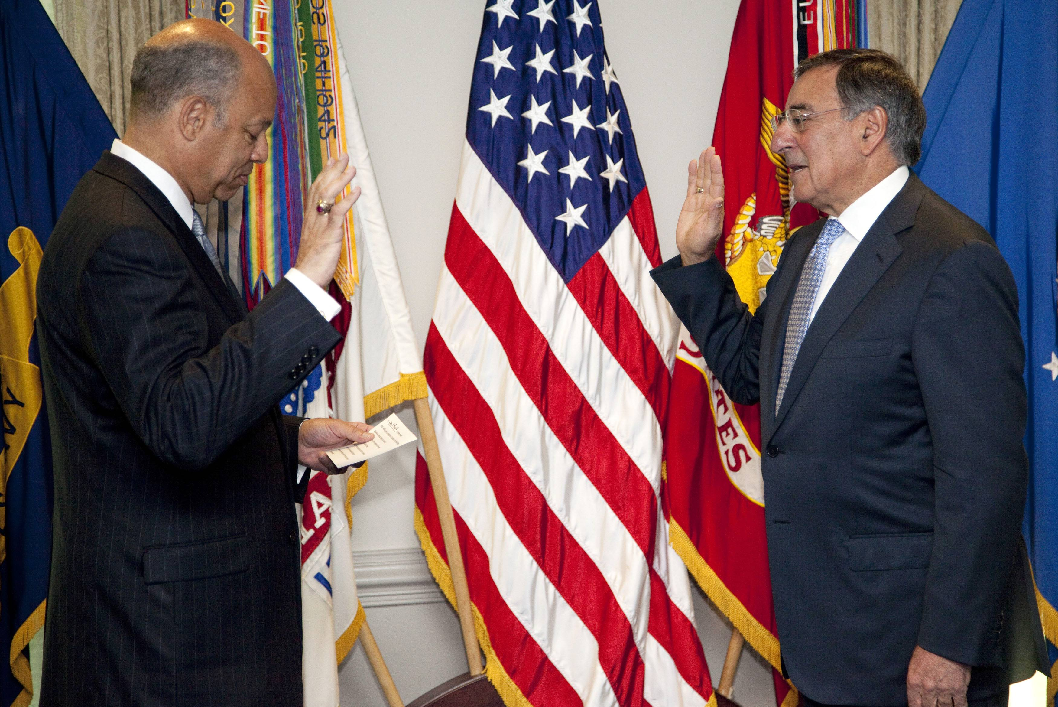 A day after stepping down as CIA director, Leon Panetta was sworn in Friday as secretary of defense.