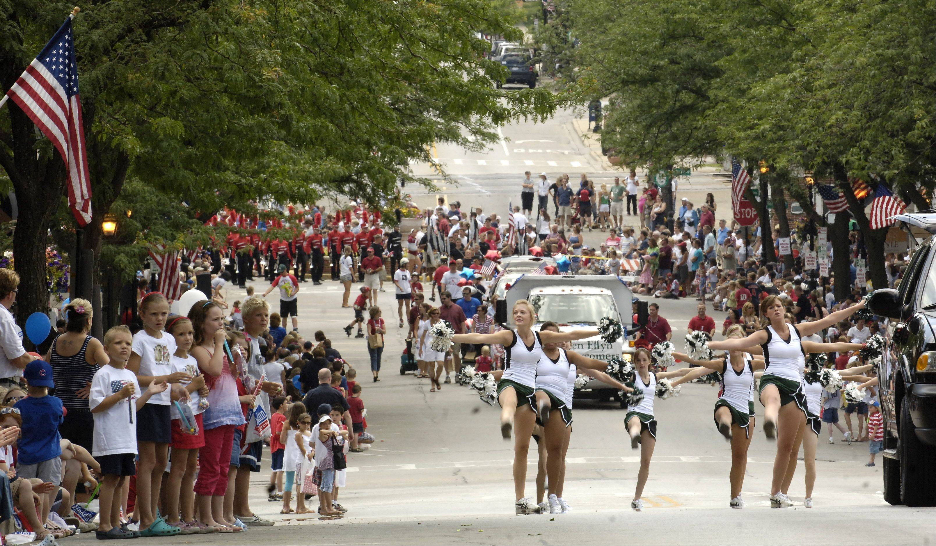 The Glen Ellyn Fourth of July parade will head down Main Street after starting at noon Monday at Glenbard West High School.