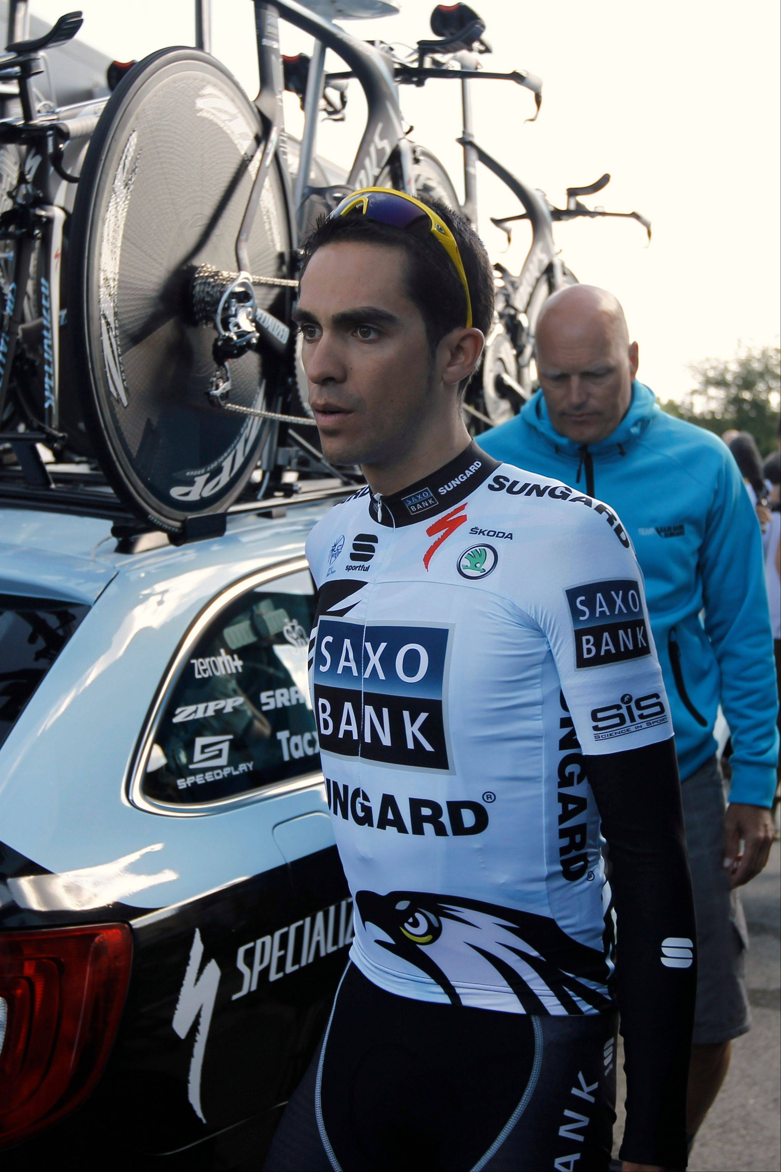 Alberto Contador leaves for a training ride near Les Herbiers, western France, on Thursday. The Tour de France starts on Saturday. Contador, the event's defending champion, is at the center of an ongoing doping case.