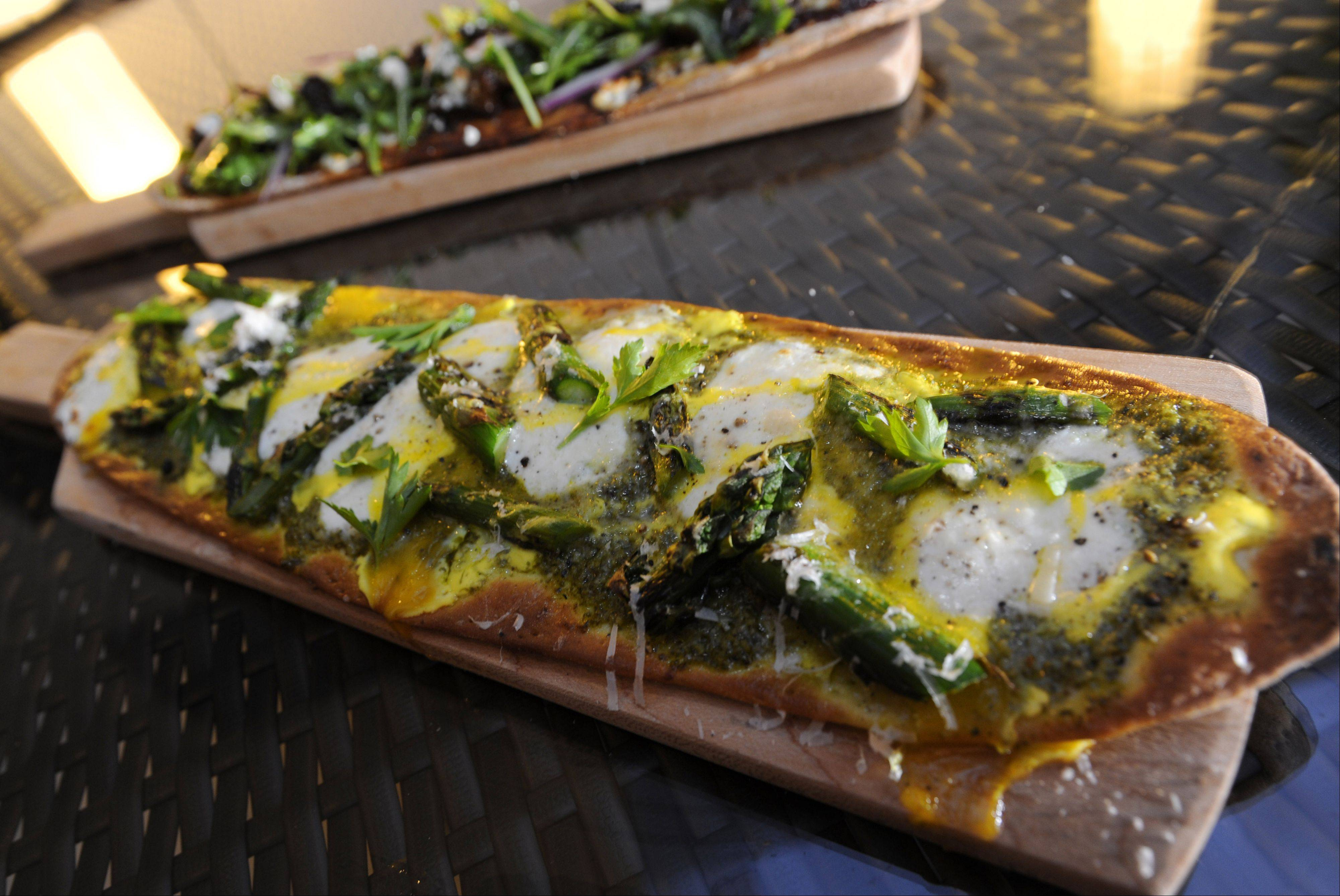 Grilled asparagus tops one of the flatbreads at The Terrace Lounge at the Renaissance Schaumburg.