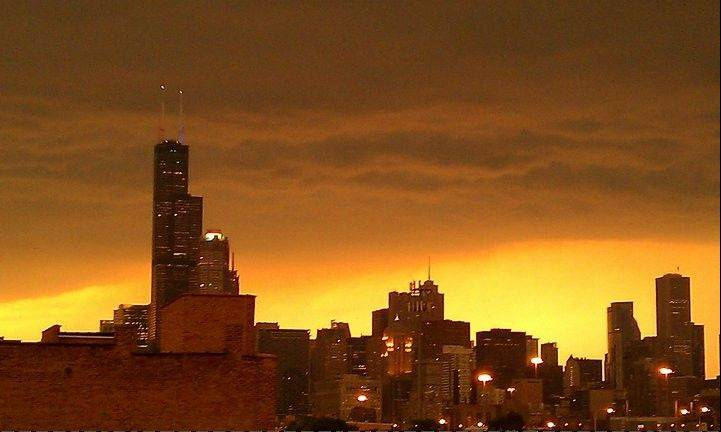 Shortly before the storm, the sky across Chicago and the suburbs turned a dangerous yellow. Hurricane-strength wind gusts of 94 mph were recorded south of the city.