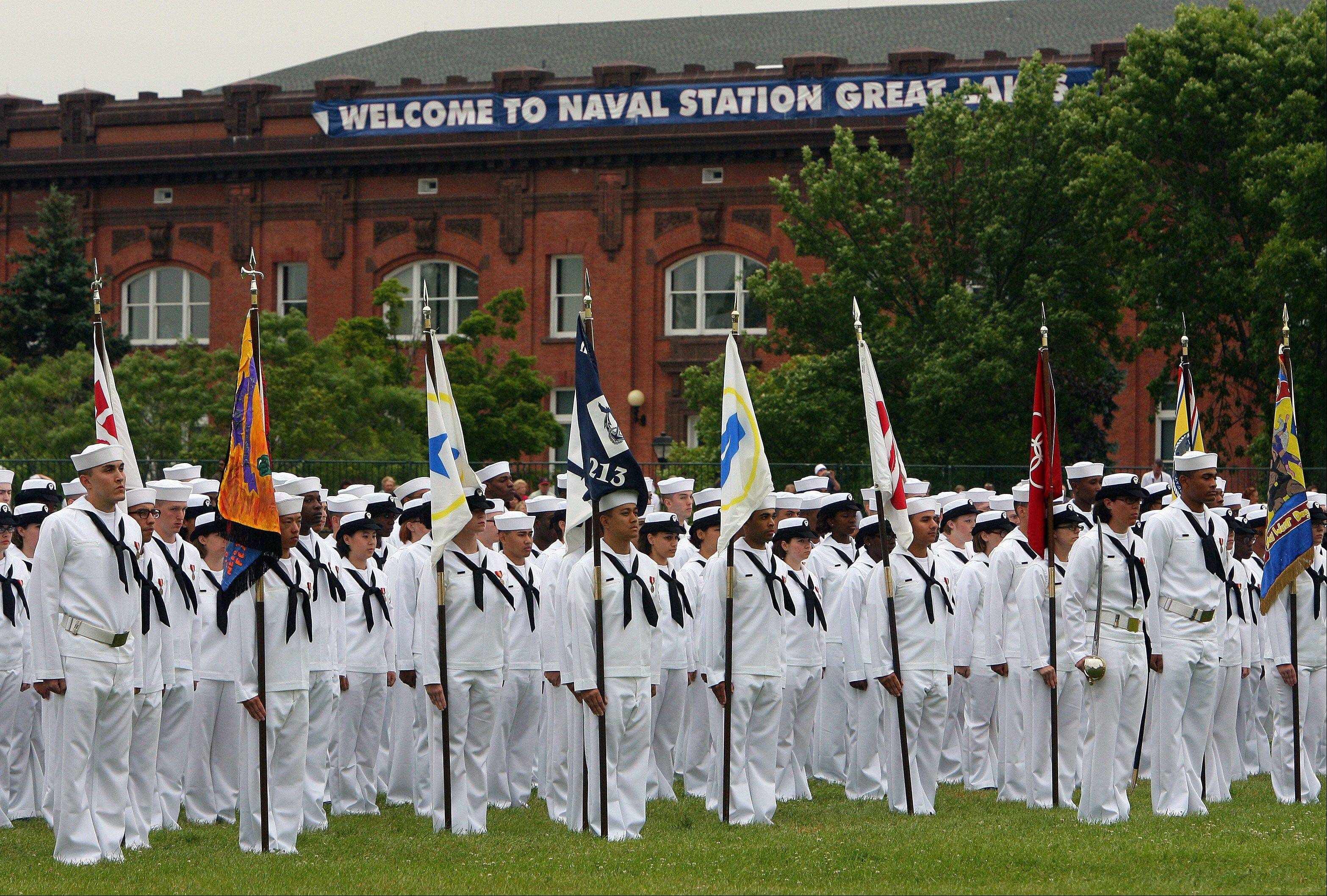 Graduation ceremonies at Great Lakes Naval Station Friday. About 1,000 recruits graduated on its 100th anniversary.