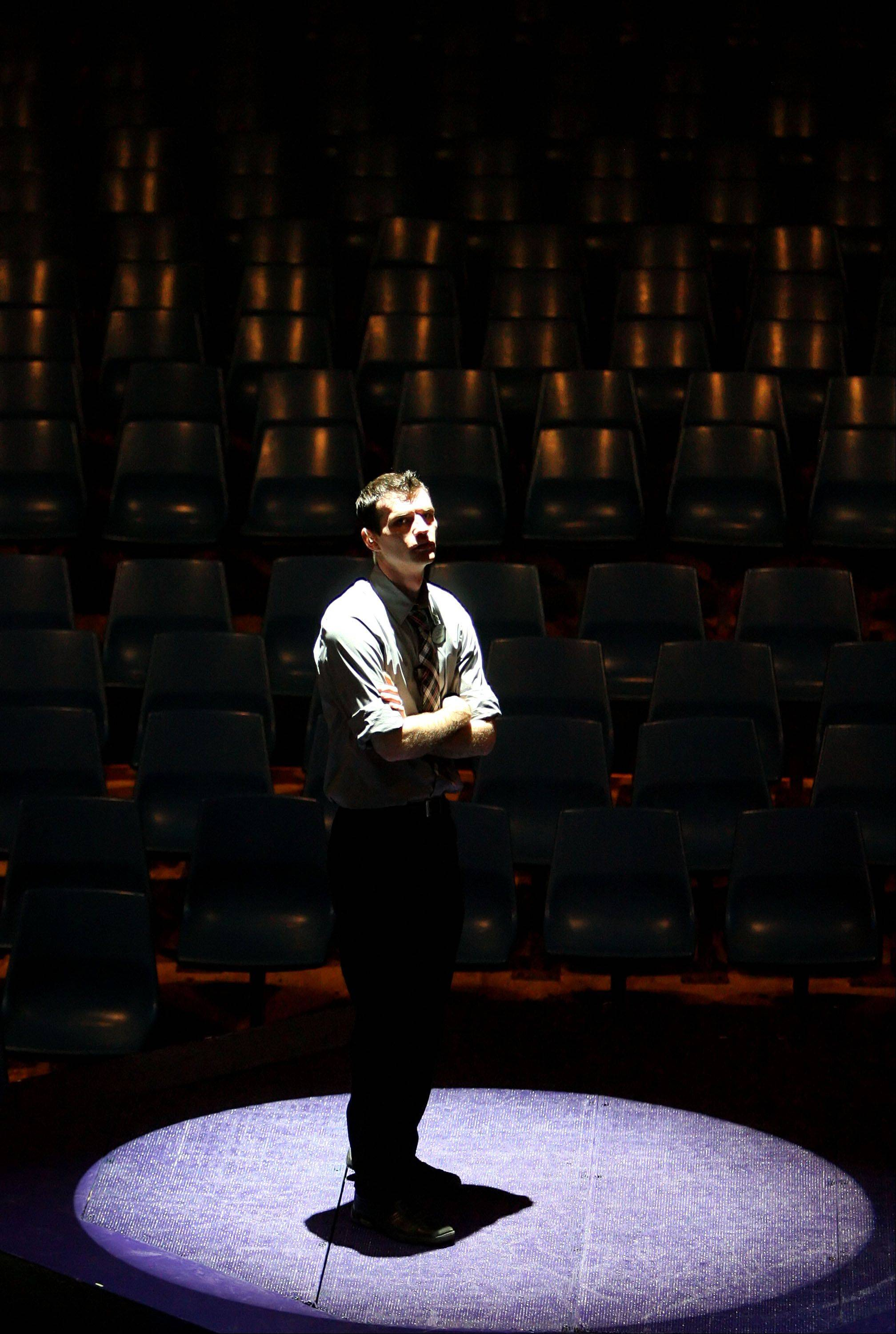 Technical supervisor Scott Schroeder of Appleton, Wisconsin checks out the stage during a rehearsal.