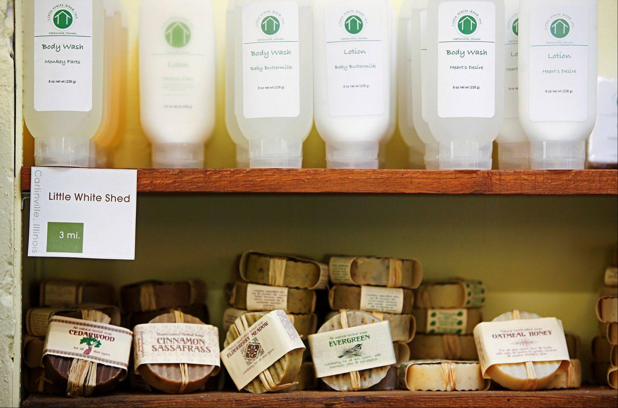 Soaps, lotions, and body wash all made in Carlinville, Ill., await purchase at the Market On The Square in downtown Carlinville. The store sells only products made, grown or processed in Illinois.
