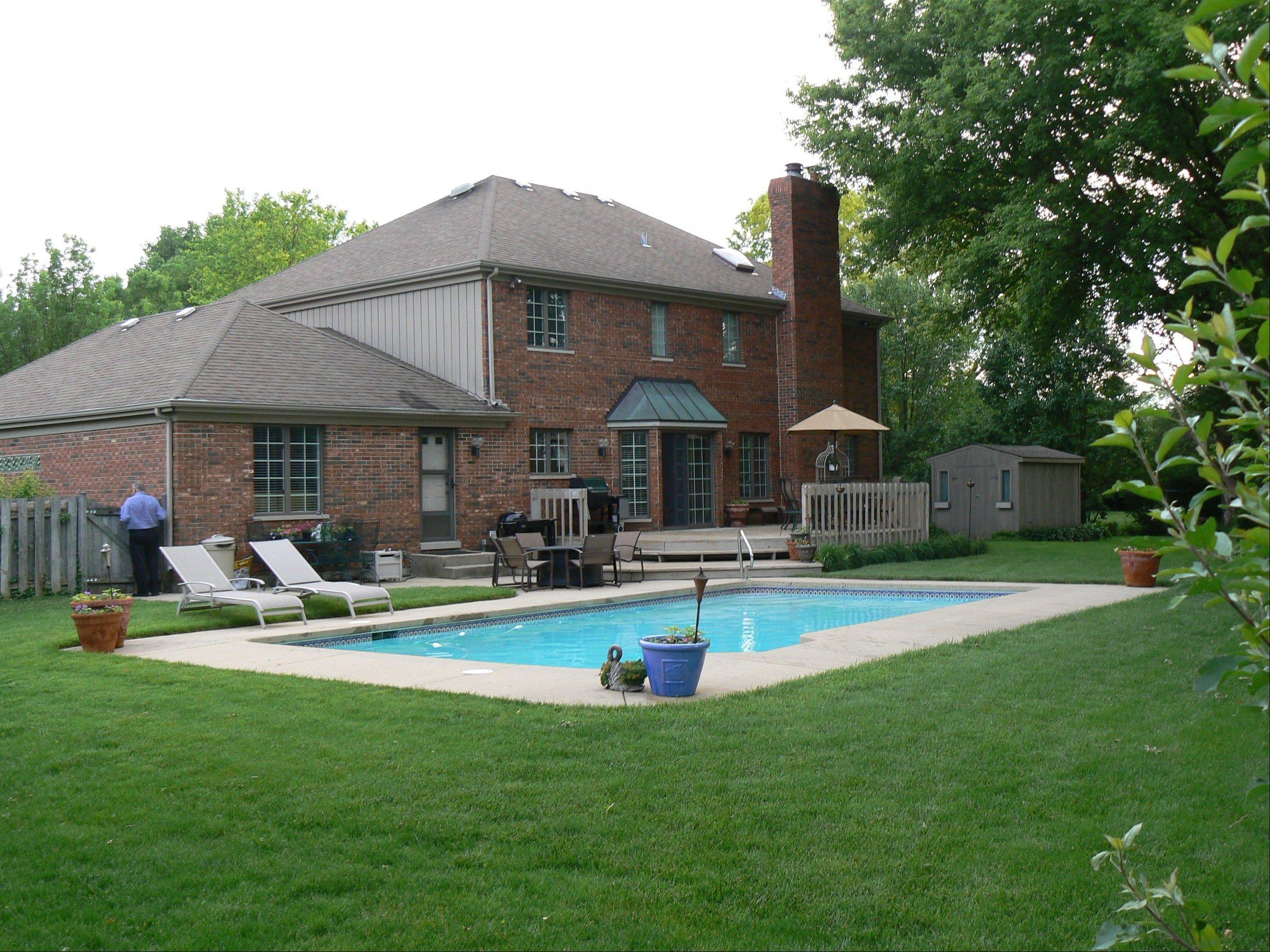 The home's swimming pool makes for an inviting backyard.