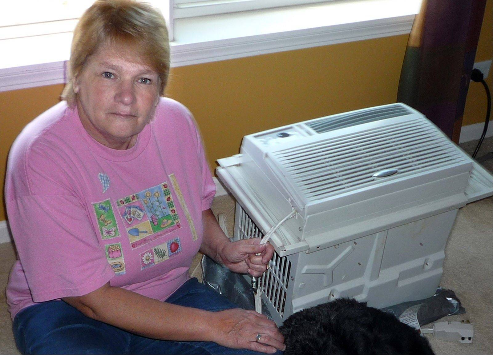 Wilting under the threat of a $100-a-day fine, Marilyn Webel reluctantly pulled this small air conditioner from her bedroom window to adhere to the Heritage of Huntley Homeowners Association's new ban against window air conditioners.