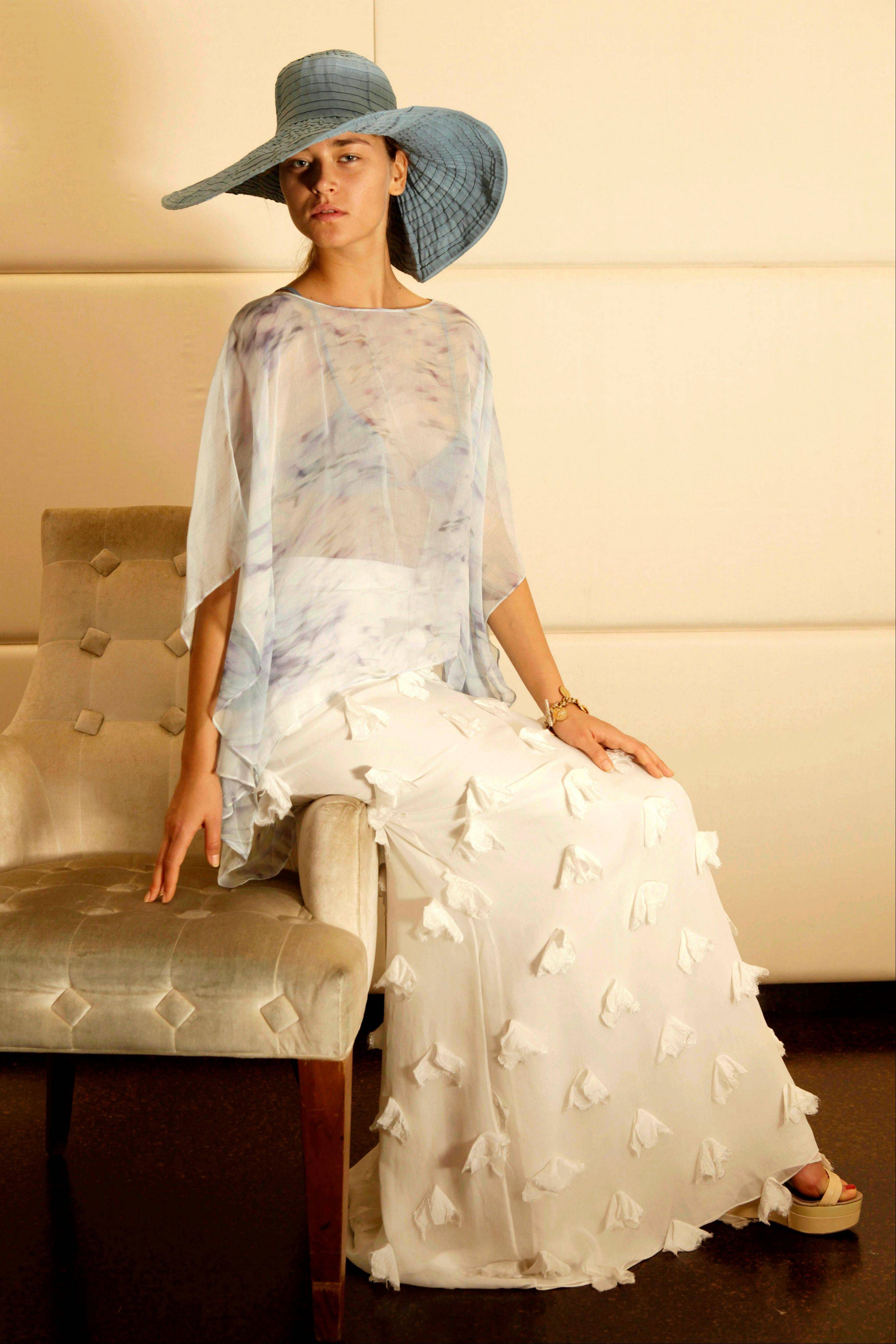 Model Sofija Ajder as she wears a design by Badgley Mischka at their studio in New York.