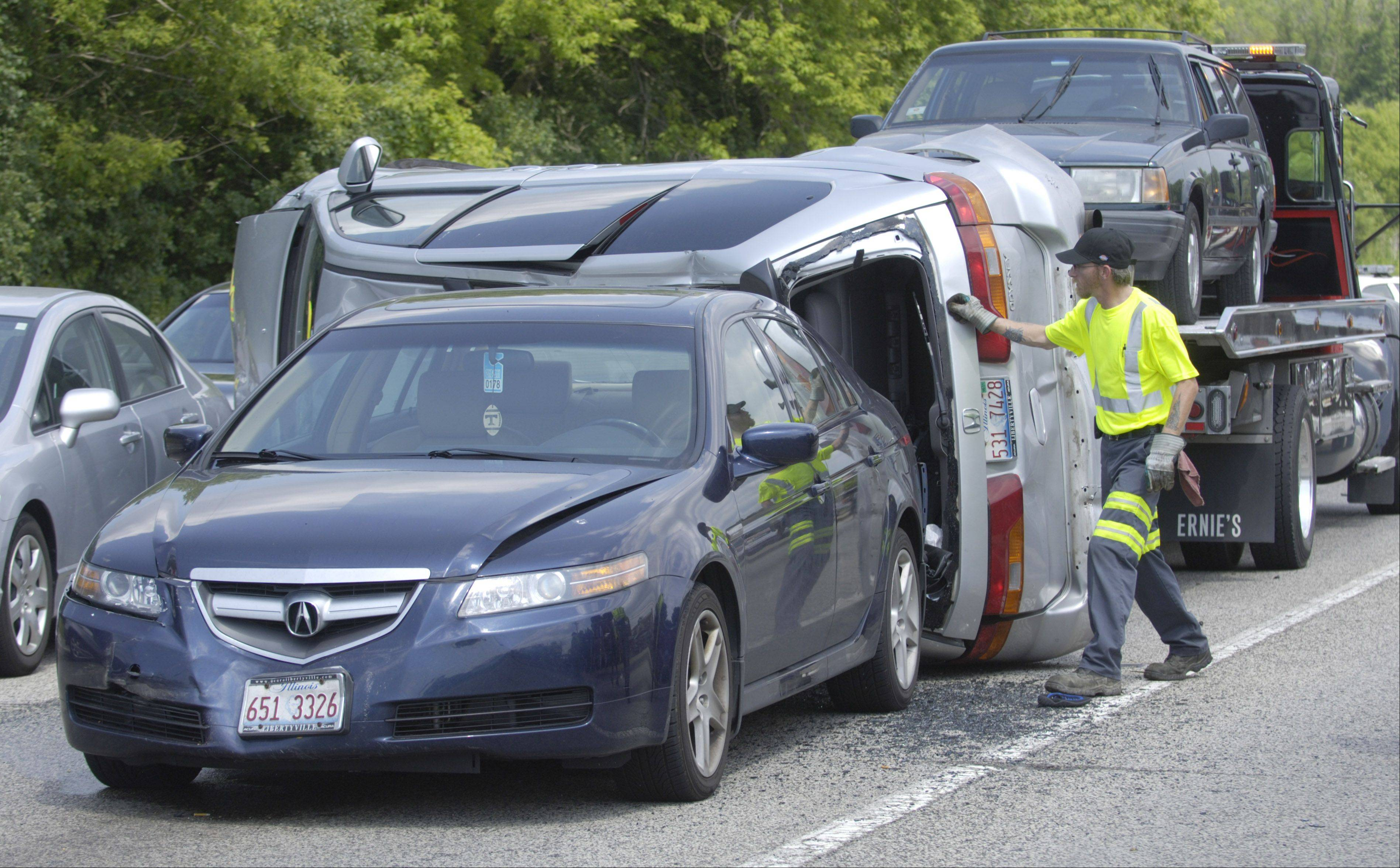 Seven vehicles were involved in a crash at Route 60 and Milwaukee Avenue in Vernon Hills around 2 p.m. Saturday. Five people were taken to the hospital.