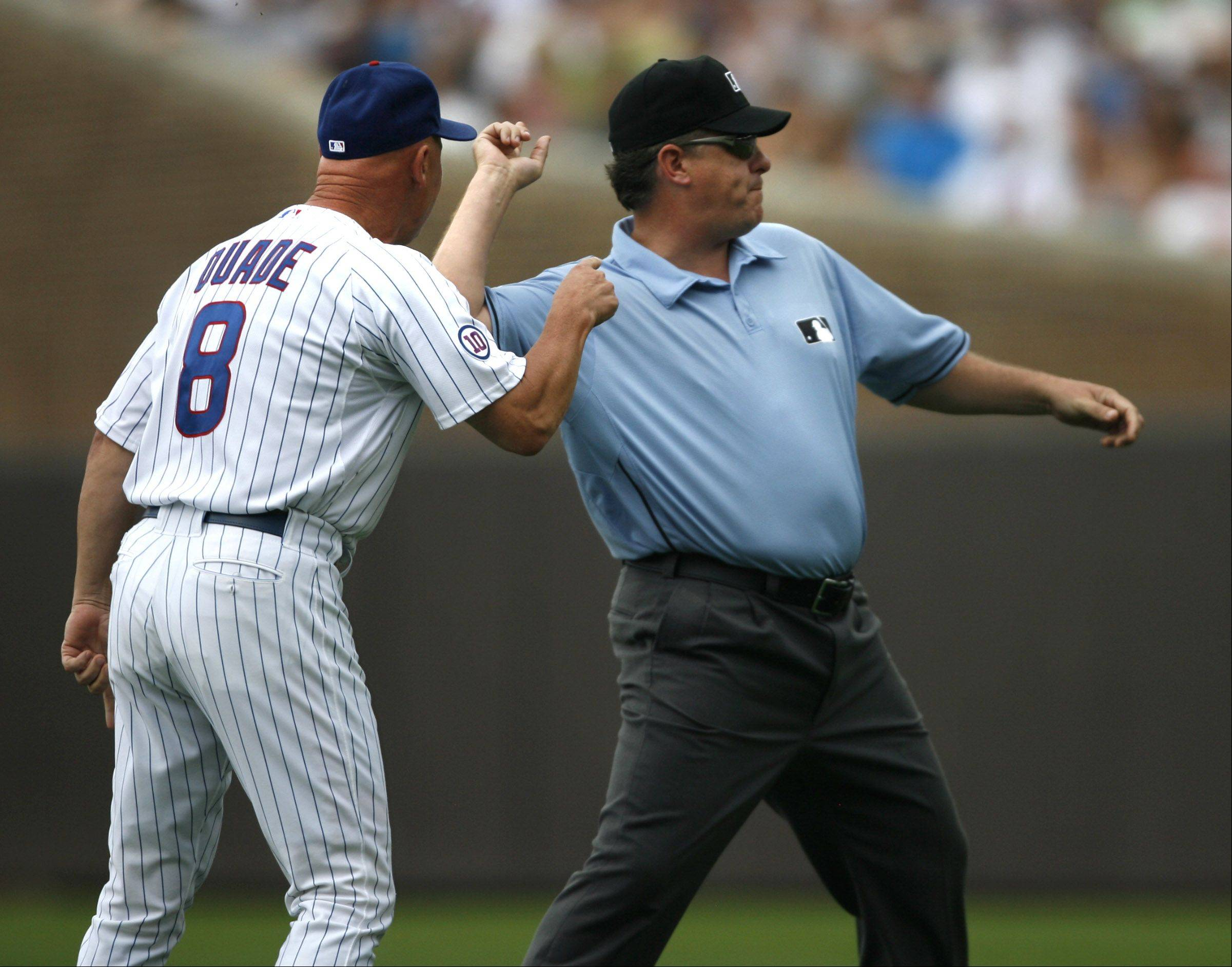 Cubs manager Mike Quade is thrown out of the game with the White Sox at Wrigley Field on Saturday.