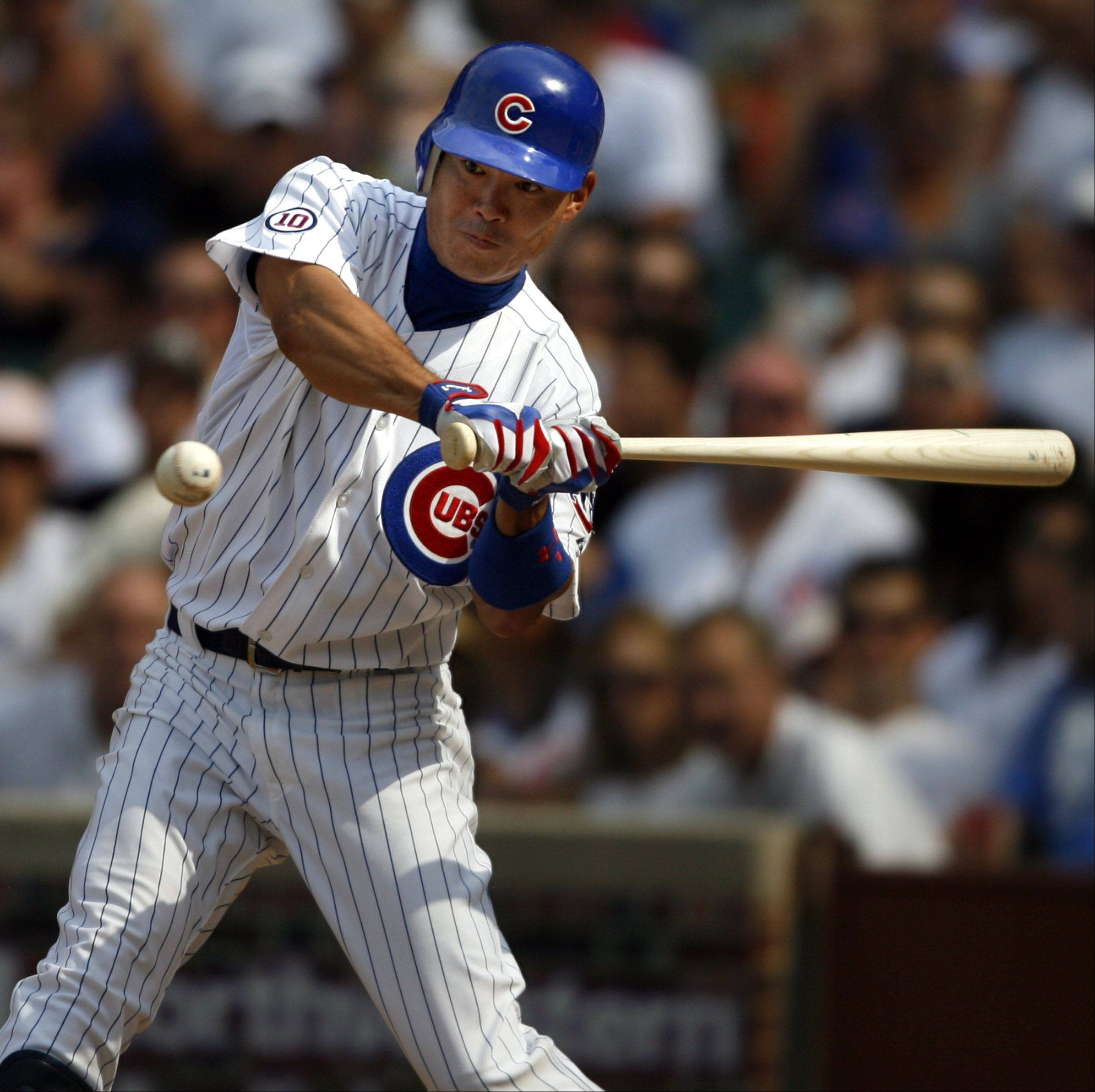 Cubs Kosuke Fukudome can't get the bat on this pitch from White Sox Philip Humber at Wrigley Field on Saturday.