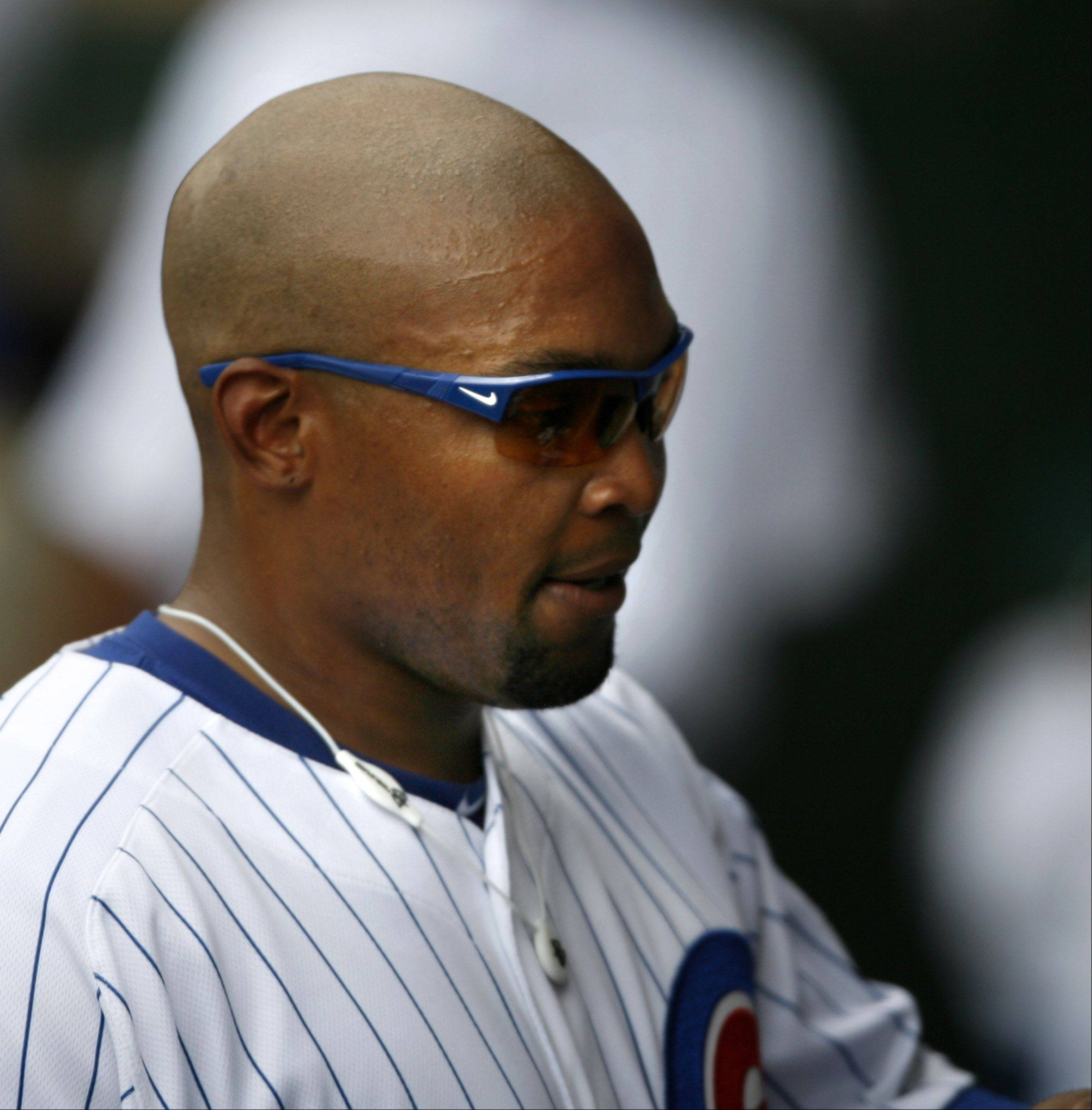 Cubs Marlon Byrd in the dugout during game with the White Sox at Wrigley Field on Saturday.