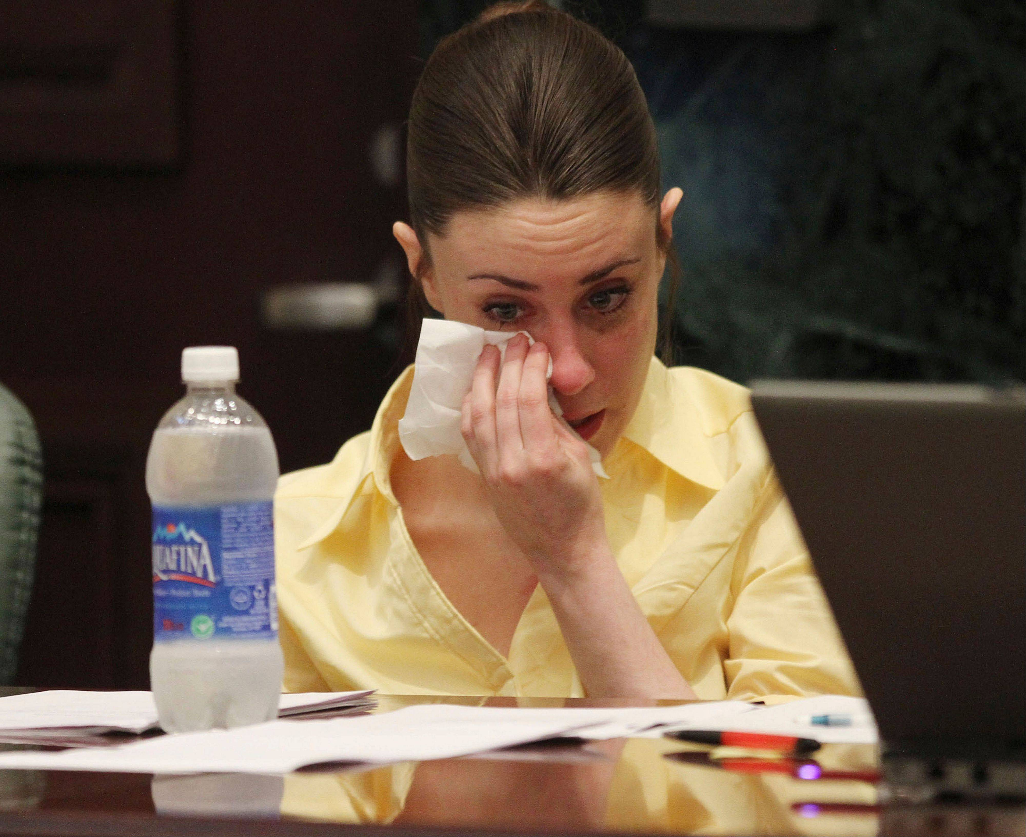 Casey Anthony reacts as the state presents its closing arguments in her murder trial in Orlando, Fla., Sunday. Anthony has plead not guilty to first-degree murder in the death of her daughter and could face the death penalty if convicted.