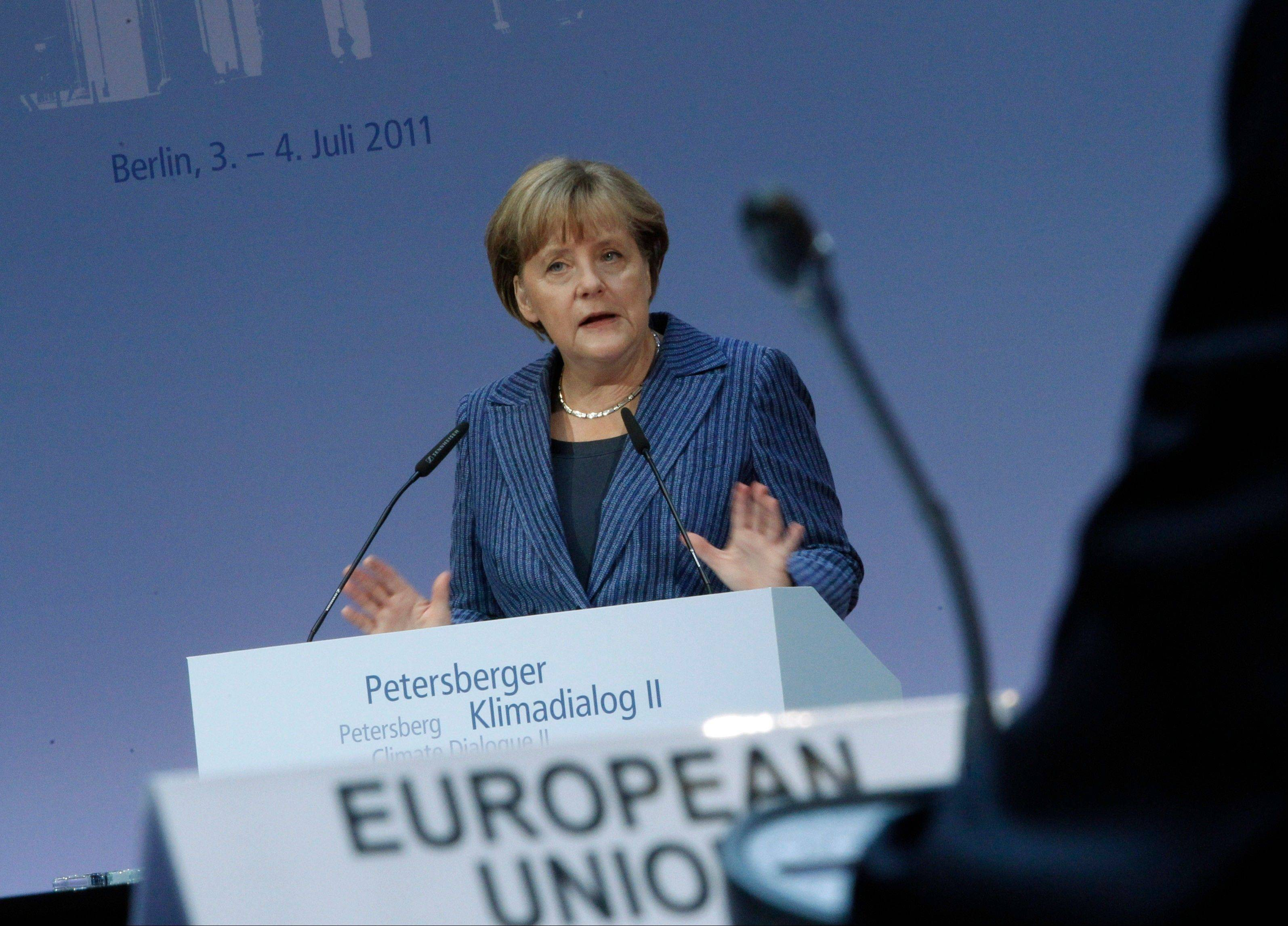 German Chancellor Angela Merkel speaks at the Petersberg Climate Dialogue in Berlin, Sunday. International delegations gathered for a two-day conference to prepare the upcoming U.N. climate conference in Durban, South Africa, Nov. 28.