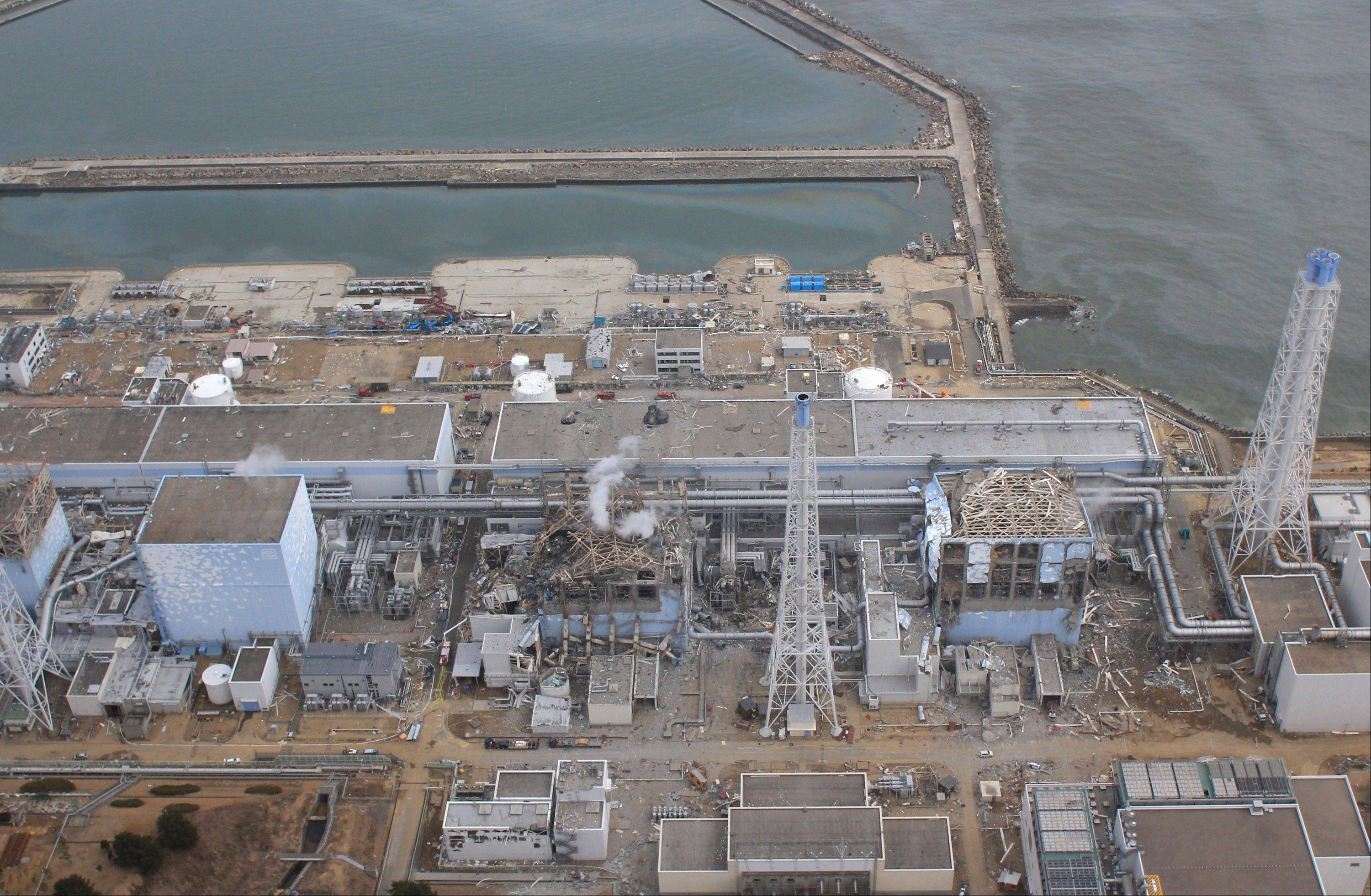 This March 20 aerial photo made by a small, unmanned drone shows the crippled Fukushima Dai-ichi nuclear power plant in Okuma, Fukushima prefecture, northern Japan.