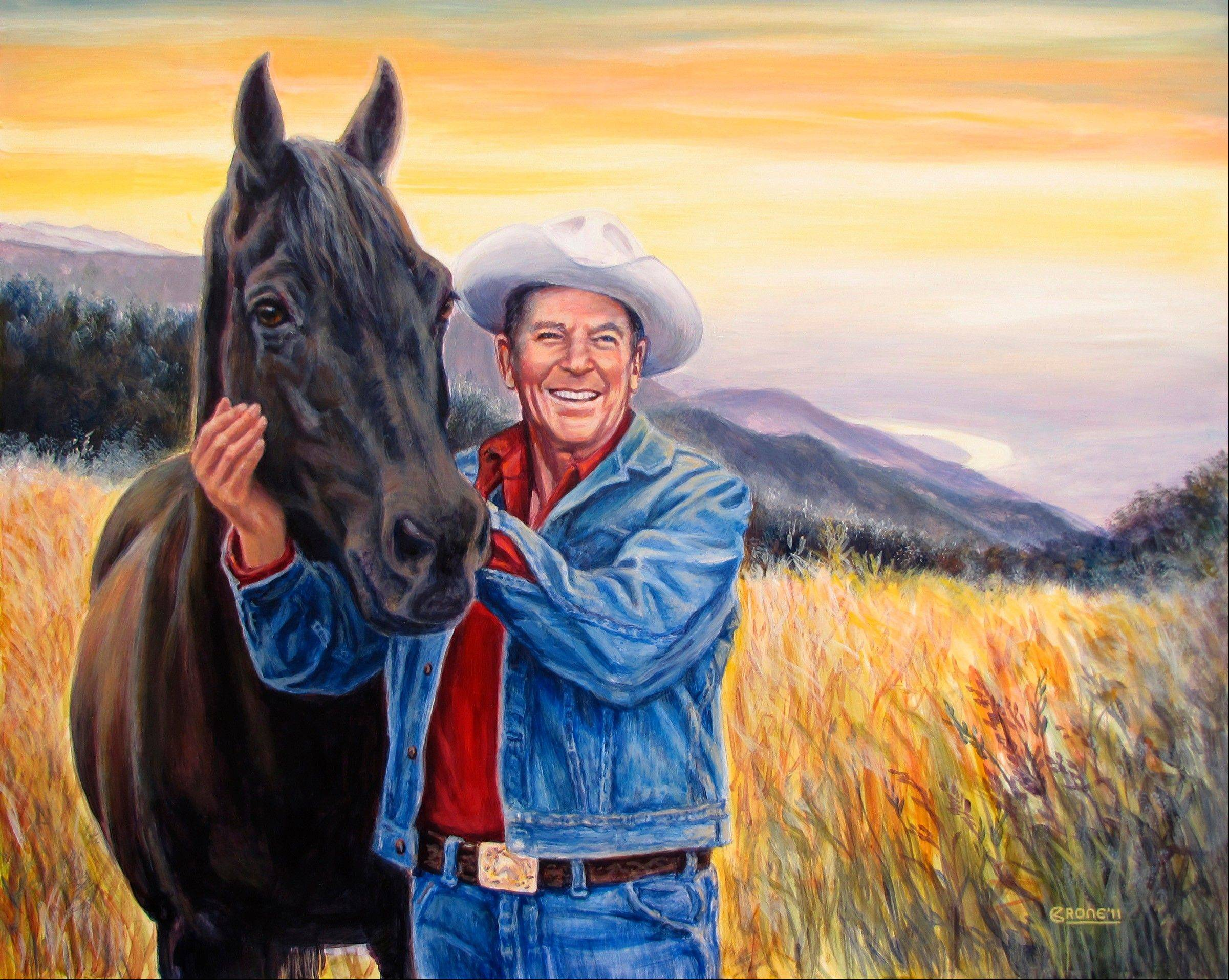 Vicki Crone�s acrylic painting �Land of the Free� shows former President Ronald Reagan with an unbridled horse at his ranch in Santa Barbara, Calif. The painting won the top award last month at an art competition in Dixon, Ill., where the late president was raised, and it is currently on display at the Reagan Ranch and Ranch Center in Santa Barbara until June 2012.