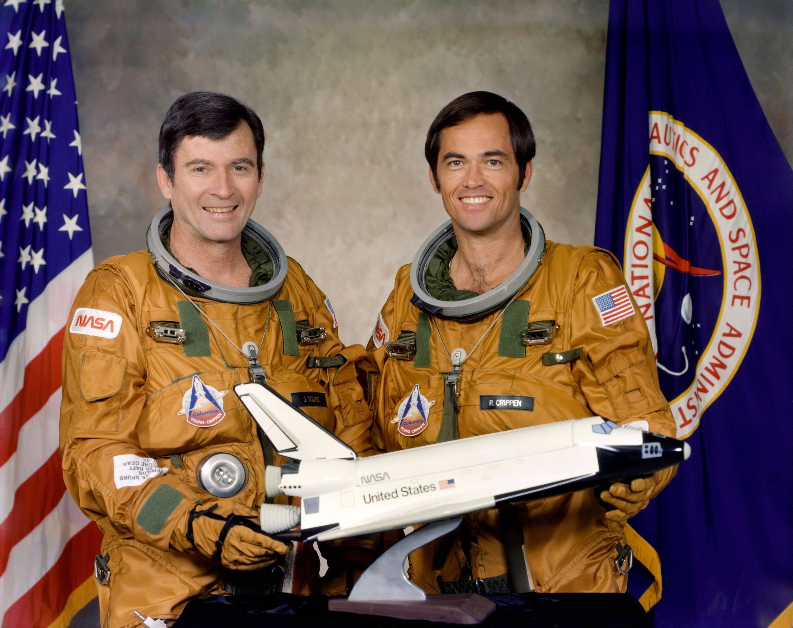 This 1979 picture shows astronauts John W. Young, left, commander, and Robert L. Crippen, pilot, of the first orbital space flight of the space shuttle Columbia which launched on April 12, 1981.