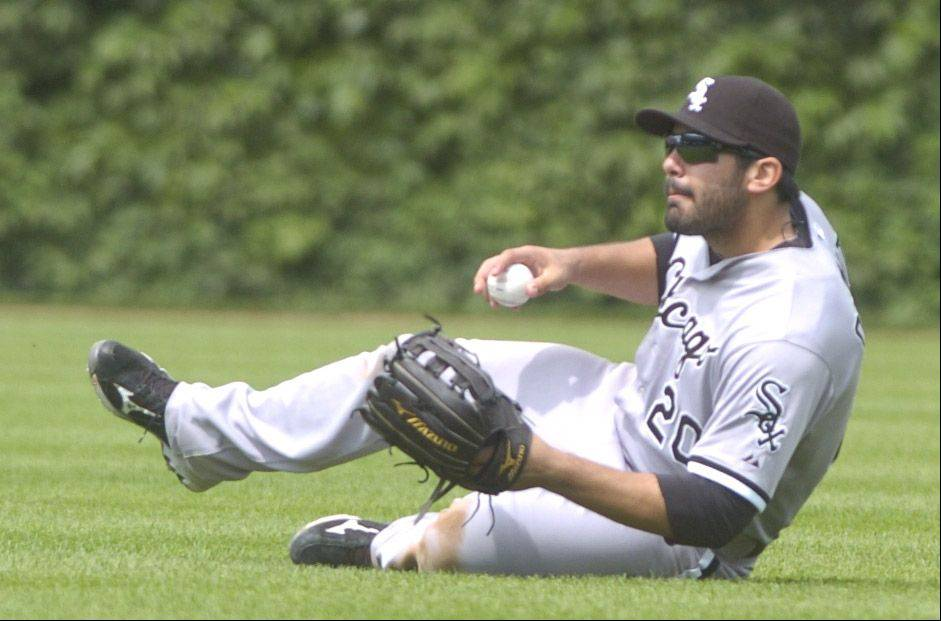 White Sox all-star right fielder Carlos Quentin makes a tumbling catch after nearly losing the ball in the sun Sunday at Wrigley Field.
