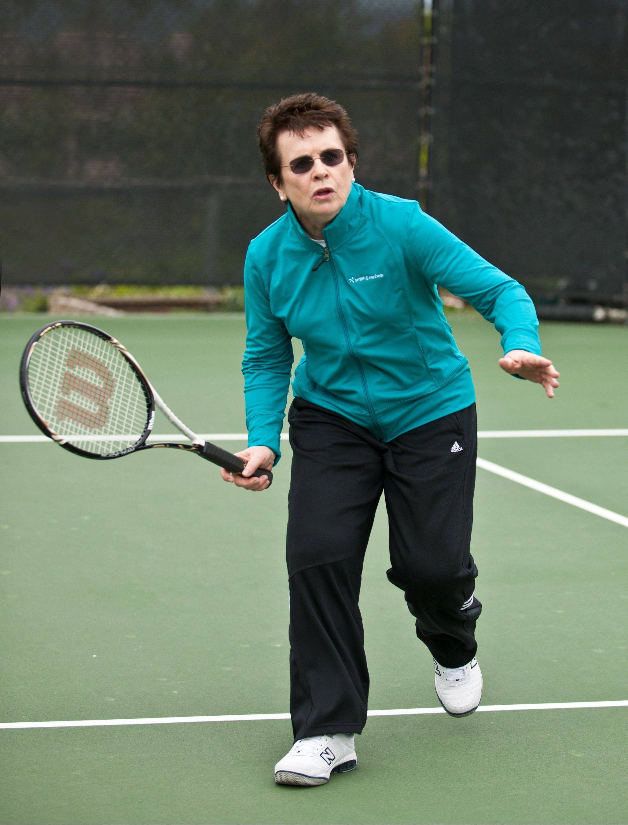 Tennis great Billie Jean King is back playing tennis with gusto after double-knee replacement surgery.
