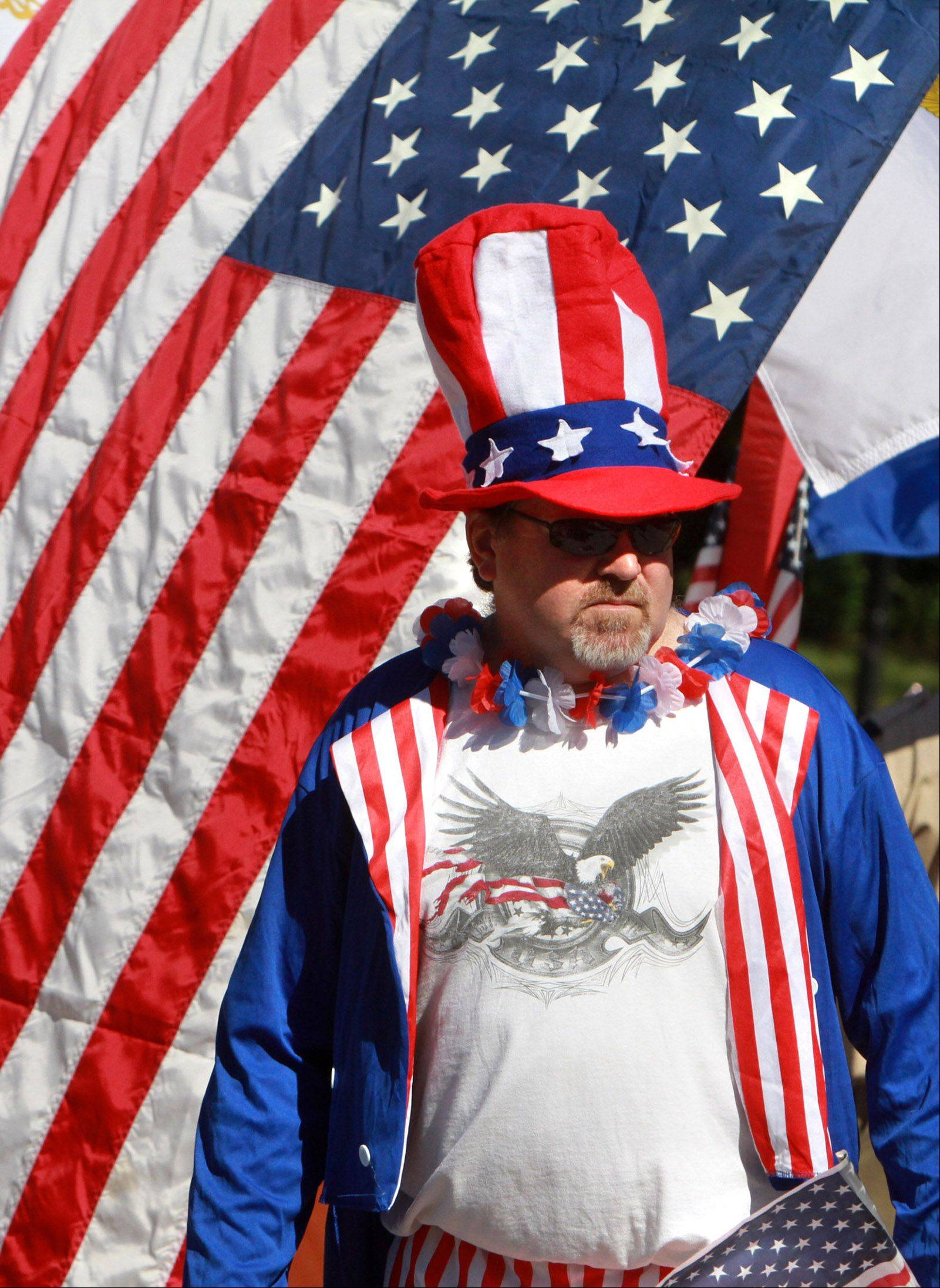 Hoffman Estates resident Doug Wagner portrays Uncle Sam in the Fourth of July parade on Monday.