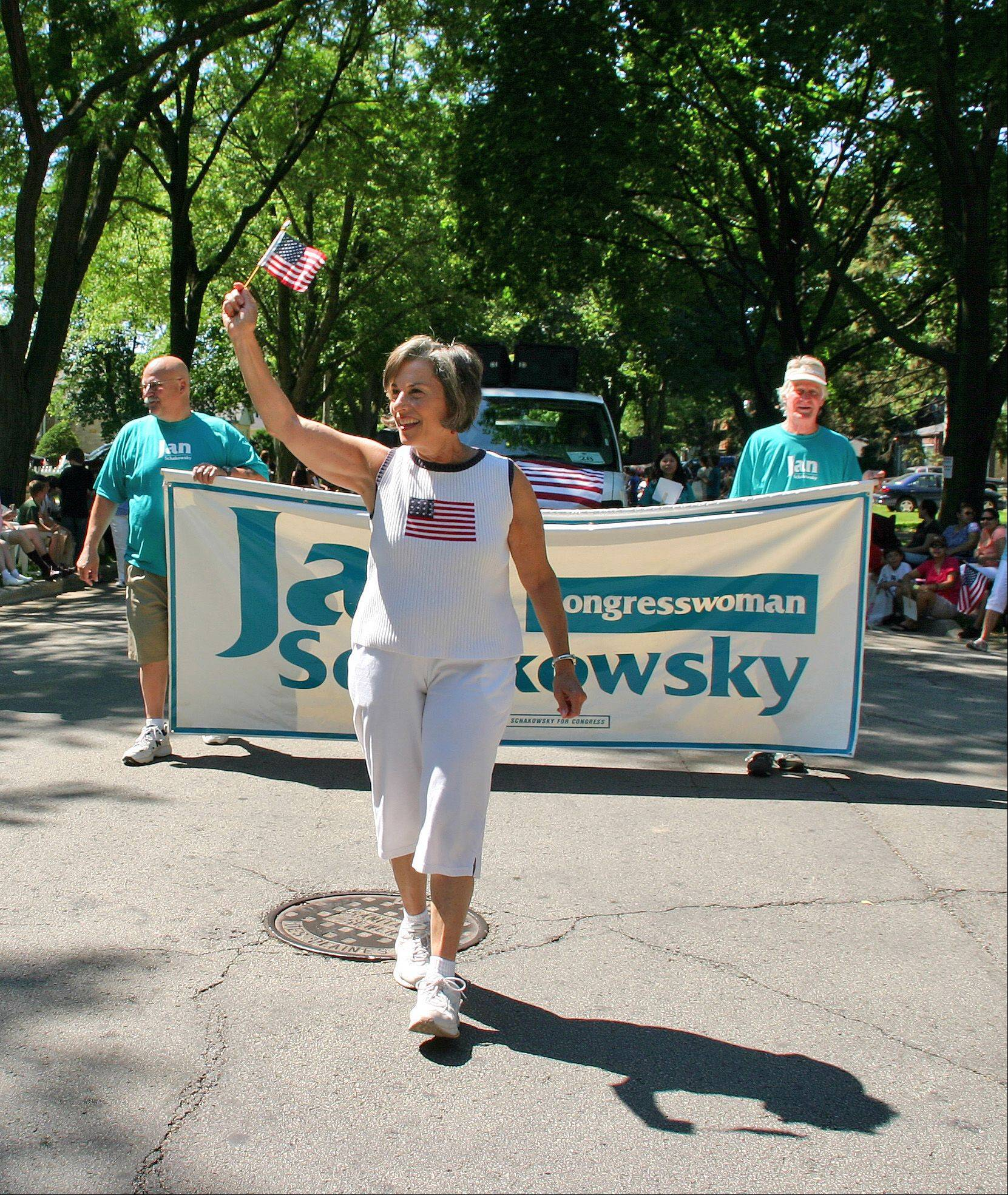 Congresswoman Jan Schakowsky marches in the Des Plaines 2011 Independence Day Parade Monday, July 4, 2011.