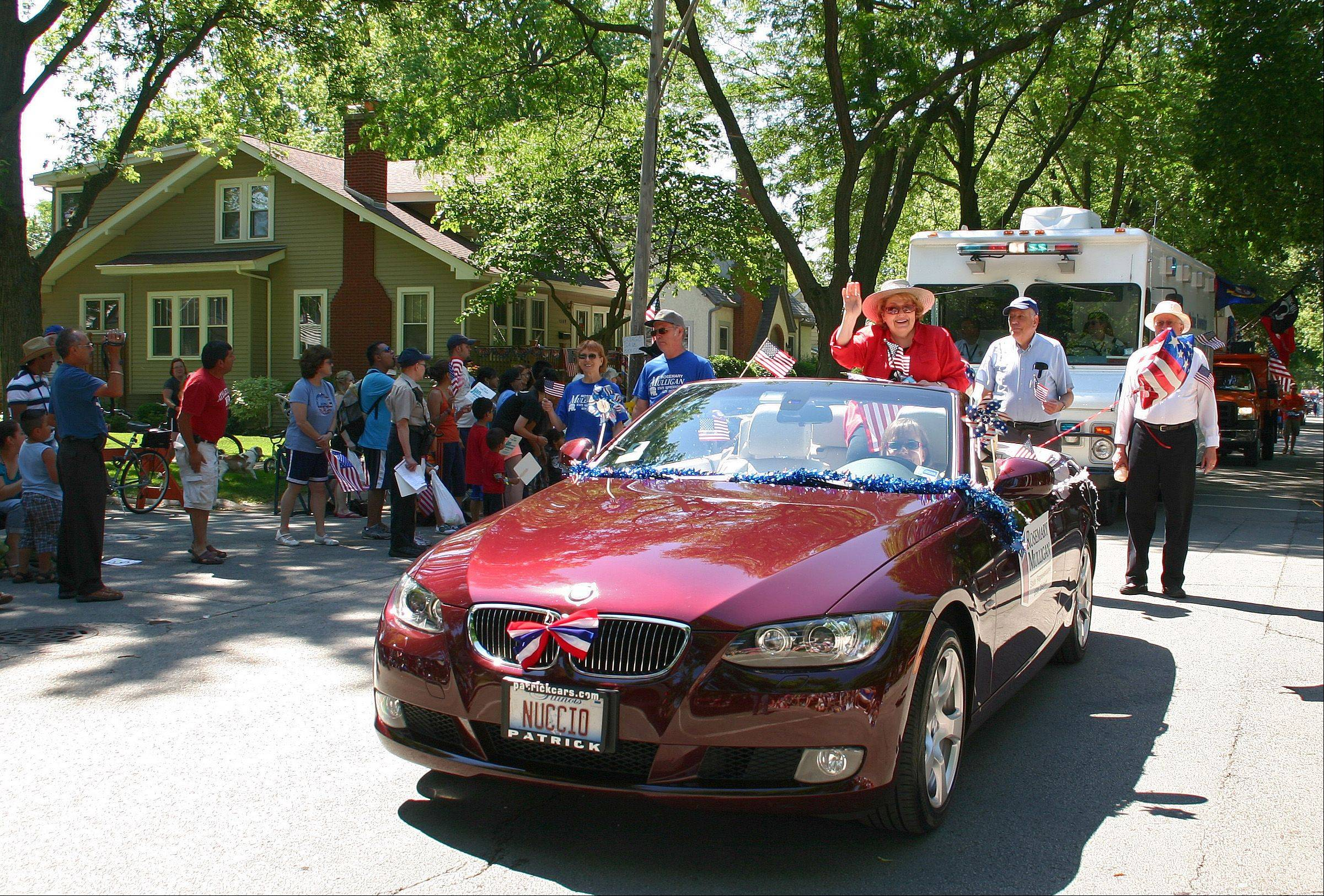 State Representative Rosemary Mulligan, 65th district, rides in the Des Plaines 2011 Independence Day Parade Monday, July 4, 2011.